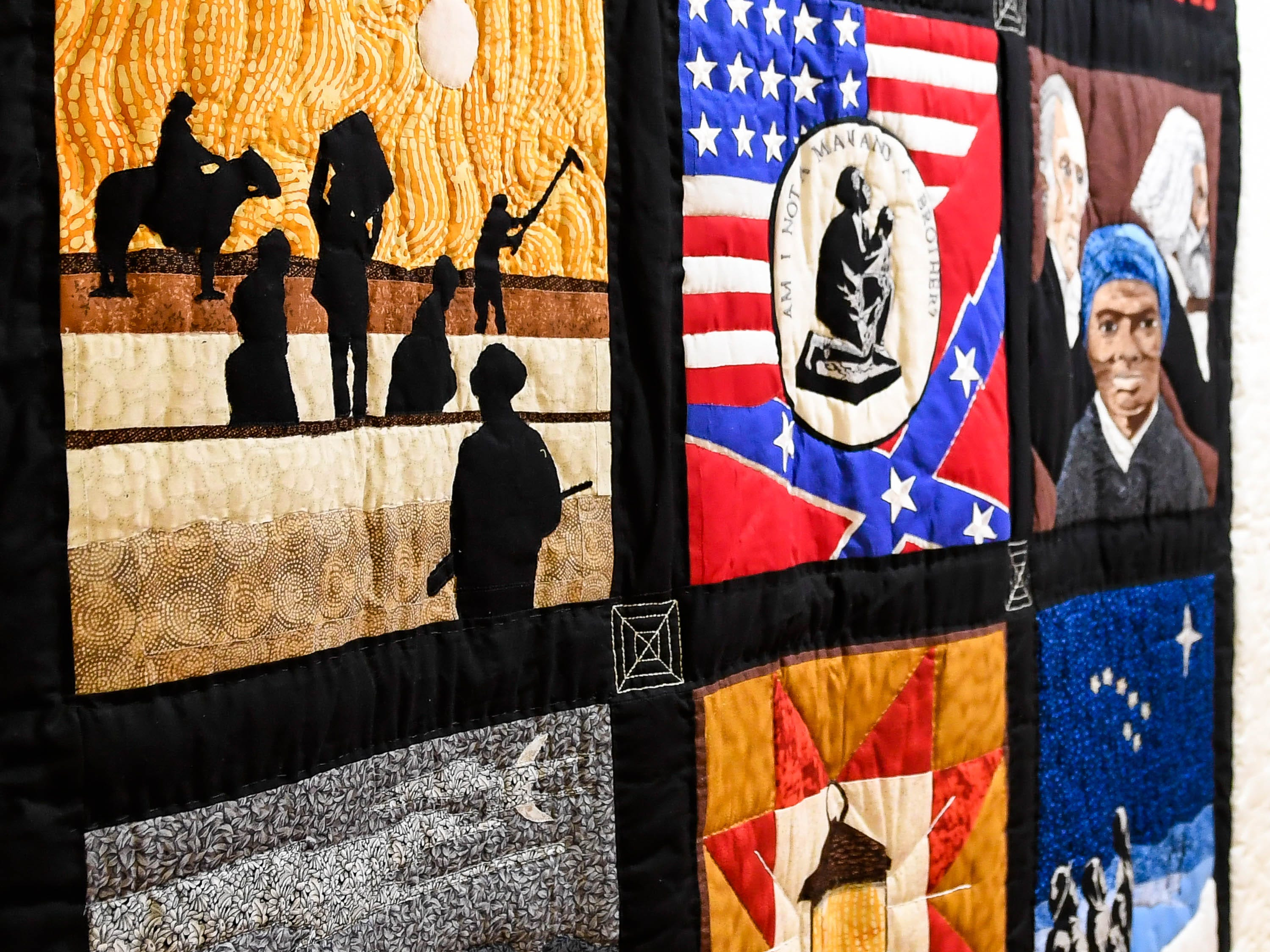 A detail of a quilt on display at the Evansville African American Museum on Friday, February 15, 2019.