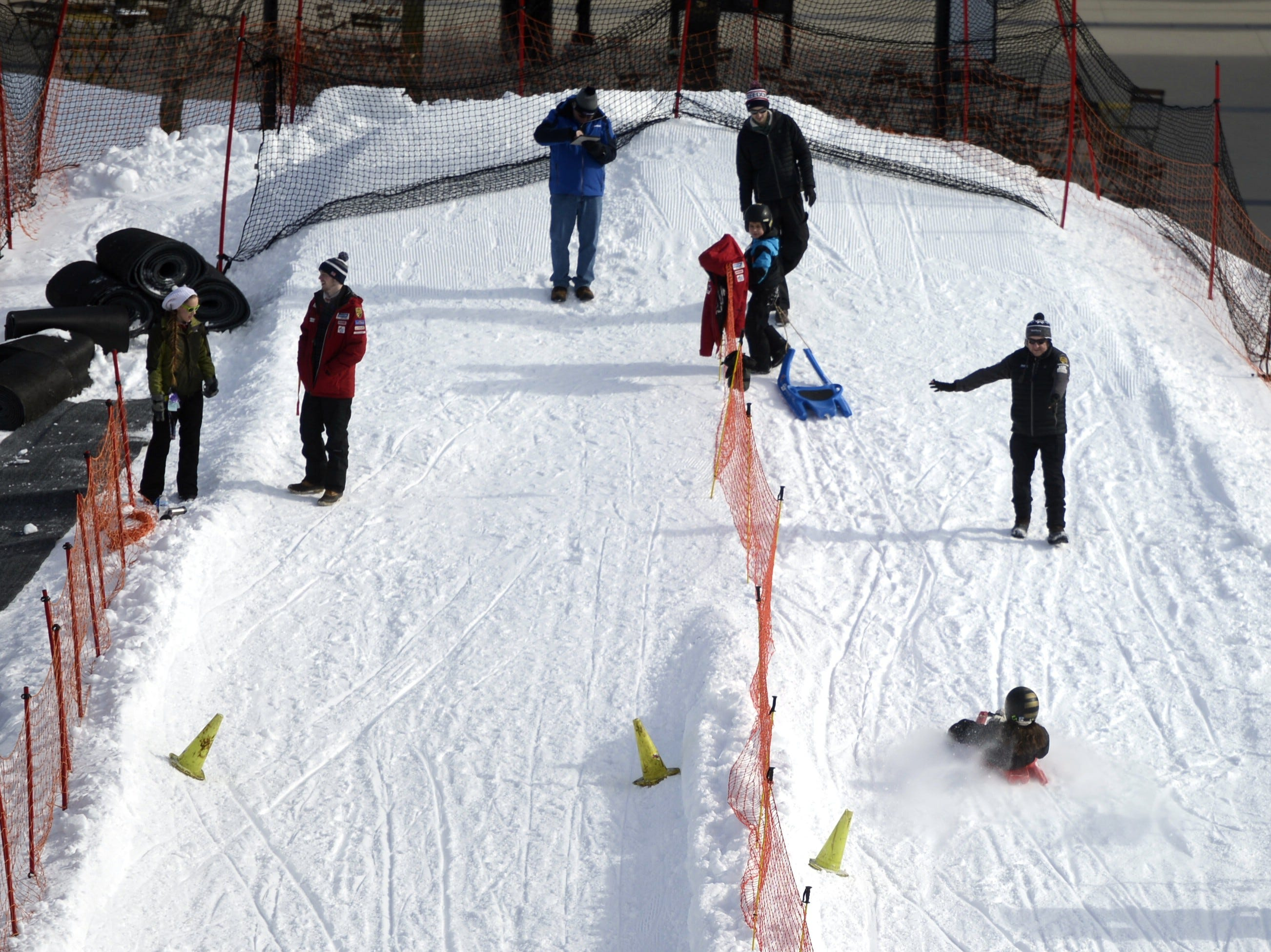 The finish line on the luge course at the Titletown Winter Games on Saturday, Feb. 16, 2019.