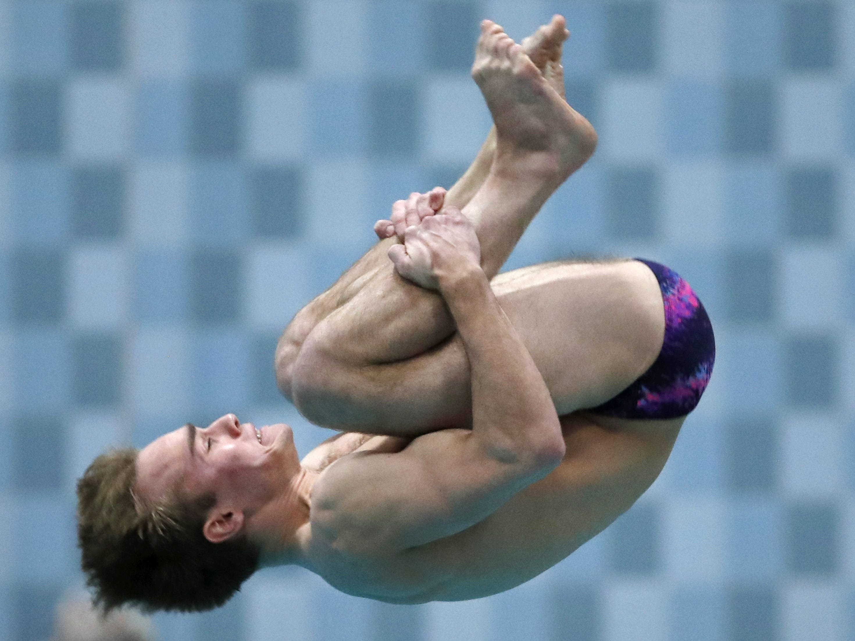 Franklin's Jared Kleczka dives during the Division 1 2019 State Boys Swimming and Diving Championships Saturday, Feb. 16, 2019, at the UW Natatorium in Madison, Wis. Danny Damiani/USA TODAY NETWORK-Wisconsin