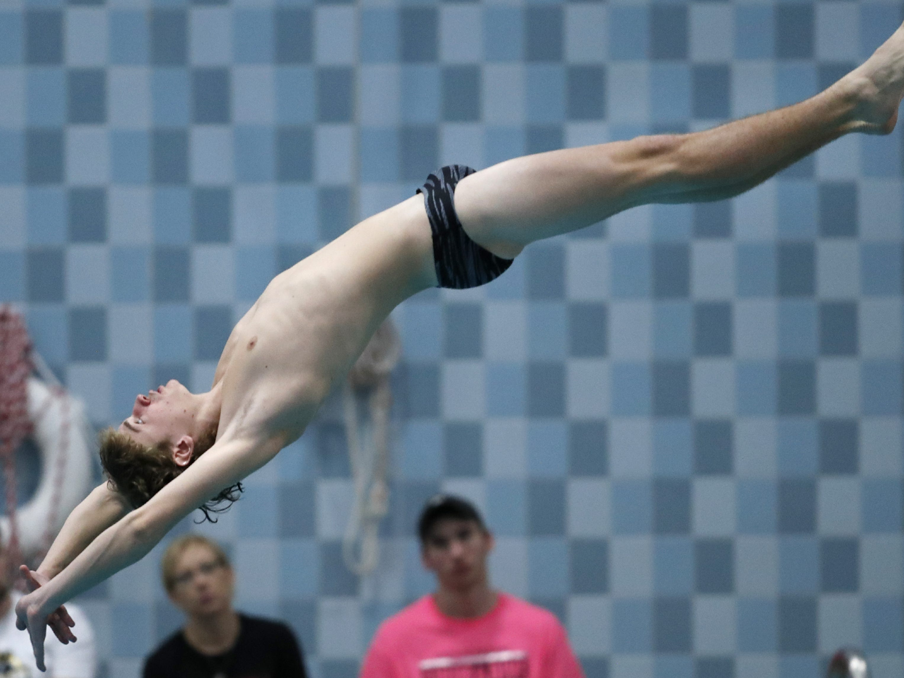 Appleton West/KimberlyÕs Nick O'Brien competes in the diving portion of the during the Division 1 2019 State Boys Swimming and Diving Championships Saturday, Feb. 16, 2019, at the UW Natatorium in Madison, Wis. Danny Damiani/USA TODAY NETWORK-Wisconsin