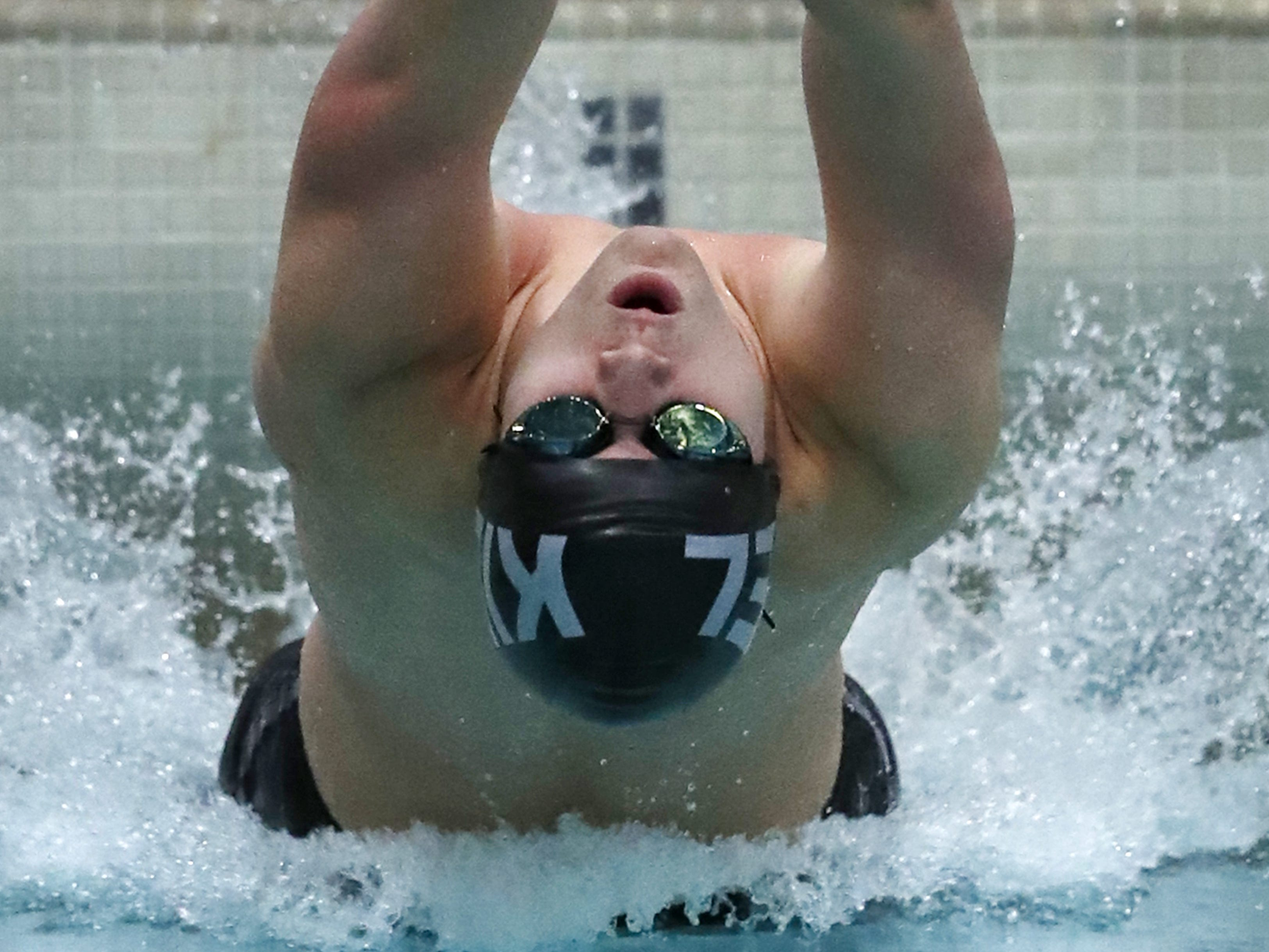 Kiel/Elkhart Lake-Glenbeulah's Mason Steffen takes off for the 100-yard backstroke during the Division 2 2019 State Boys Swimming and Diving Championships Friday, Feb. 15, 2019, at the UW Natatorium in Madison, Wis.