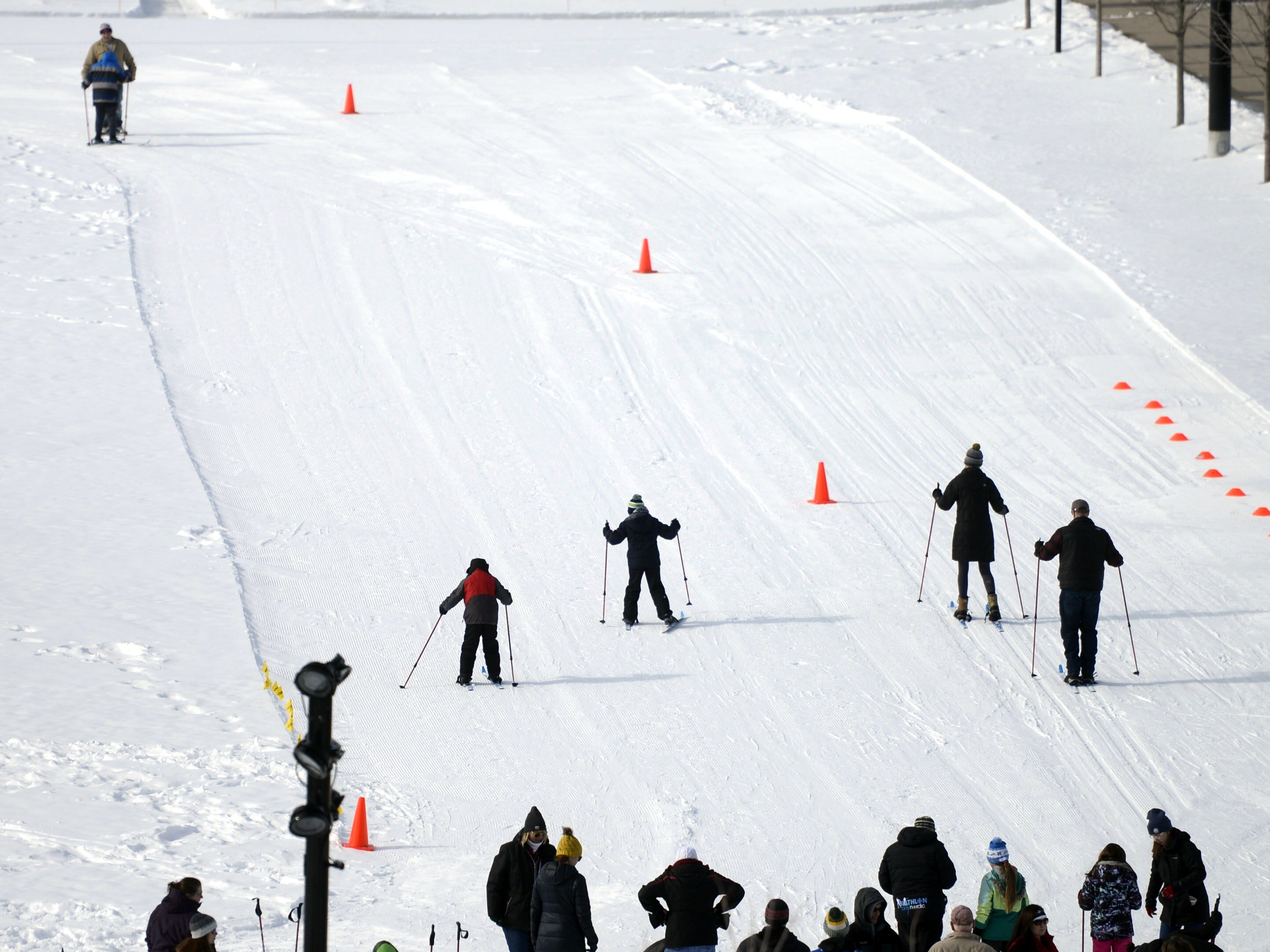Cross country skiers take off during the Titletown Winter Games on Saturday, Feb. 16, 2019.