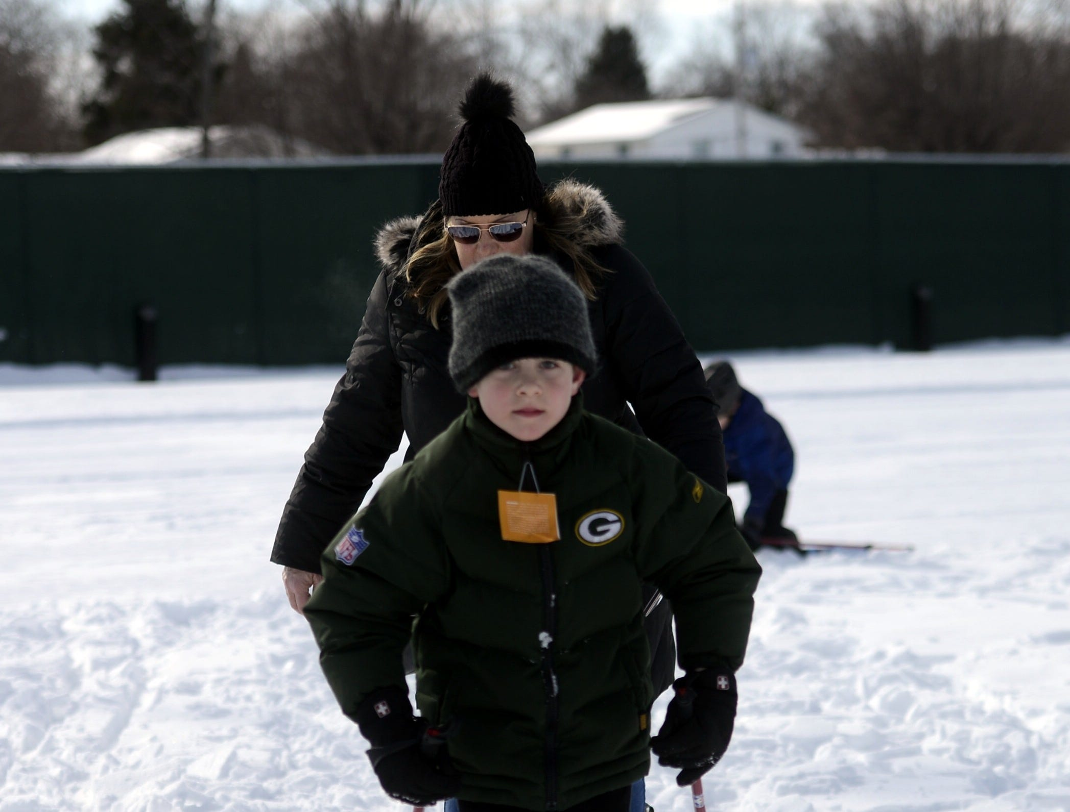 Dennis Schlies, 7, of Greenleaf tried cross country skiing during the Titletown Winter Games on Saturday, Feb. 16, 2019.
