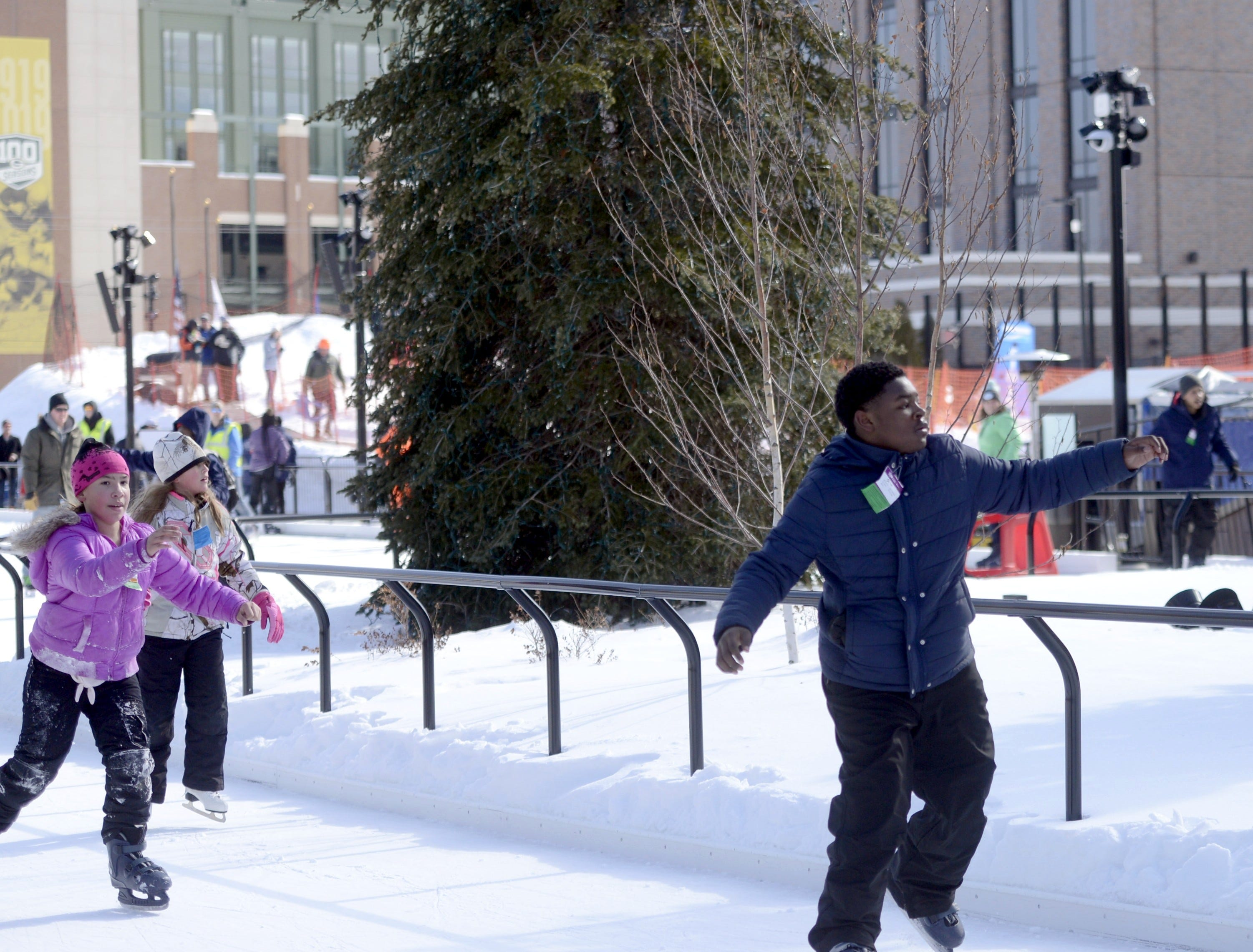 Skater on the Titletown ice rink, Saturday, Feb. 16, 2019