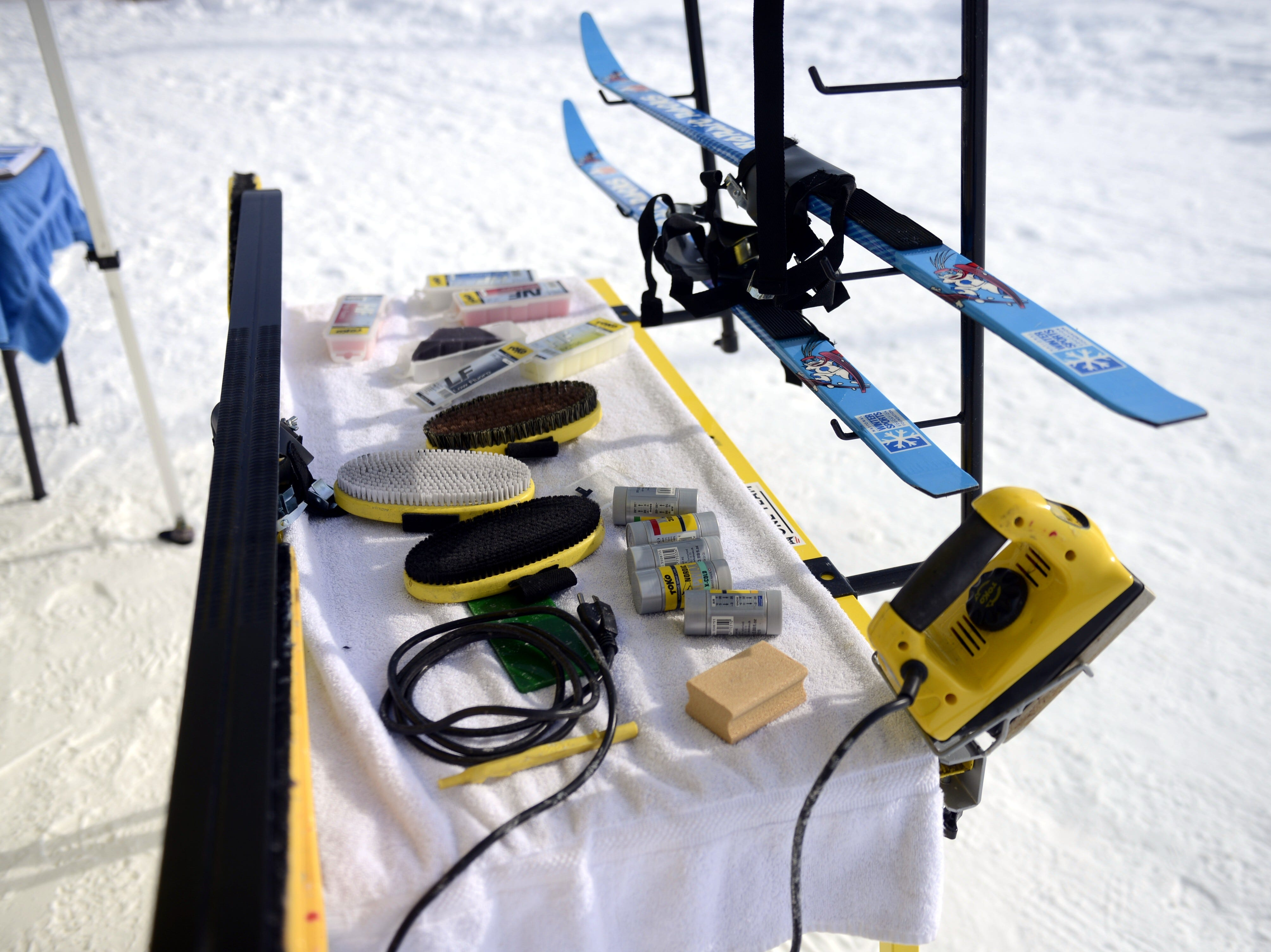 Ski waxing table at Titletown Winter Games on Saturday Feb. 16, 2019.