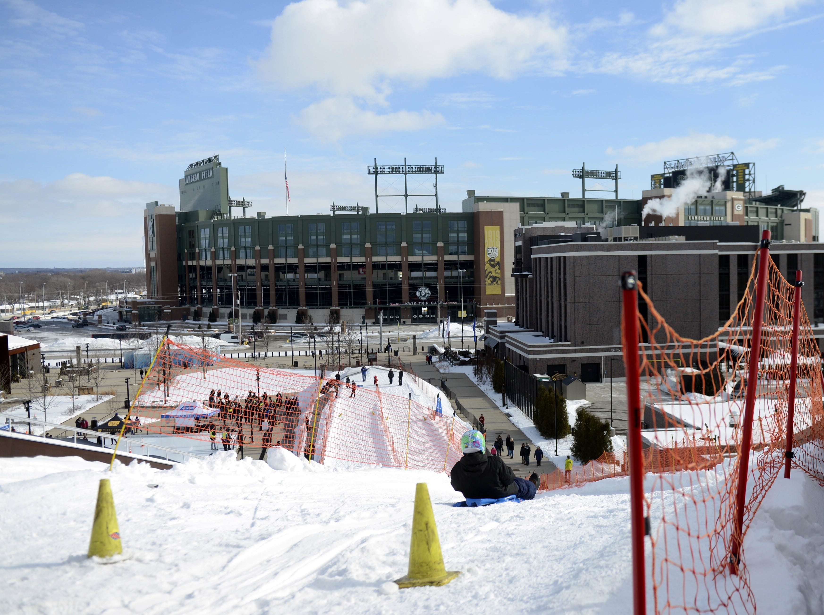 View from the top of Ariens Hill, turned into a luge course for the Titletown Winter Games on Saturday, Feb. 16, 2019.
