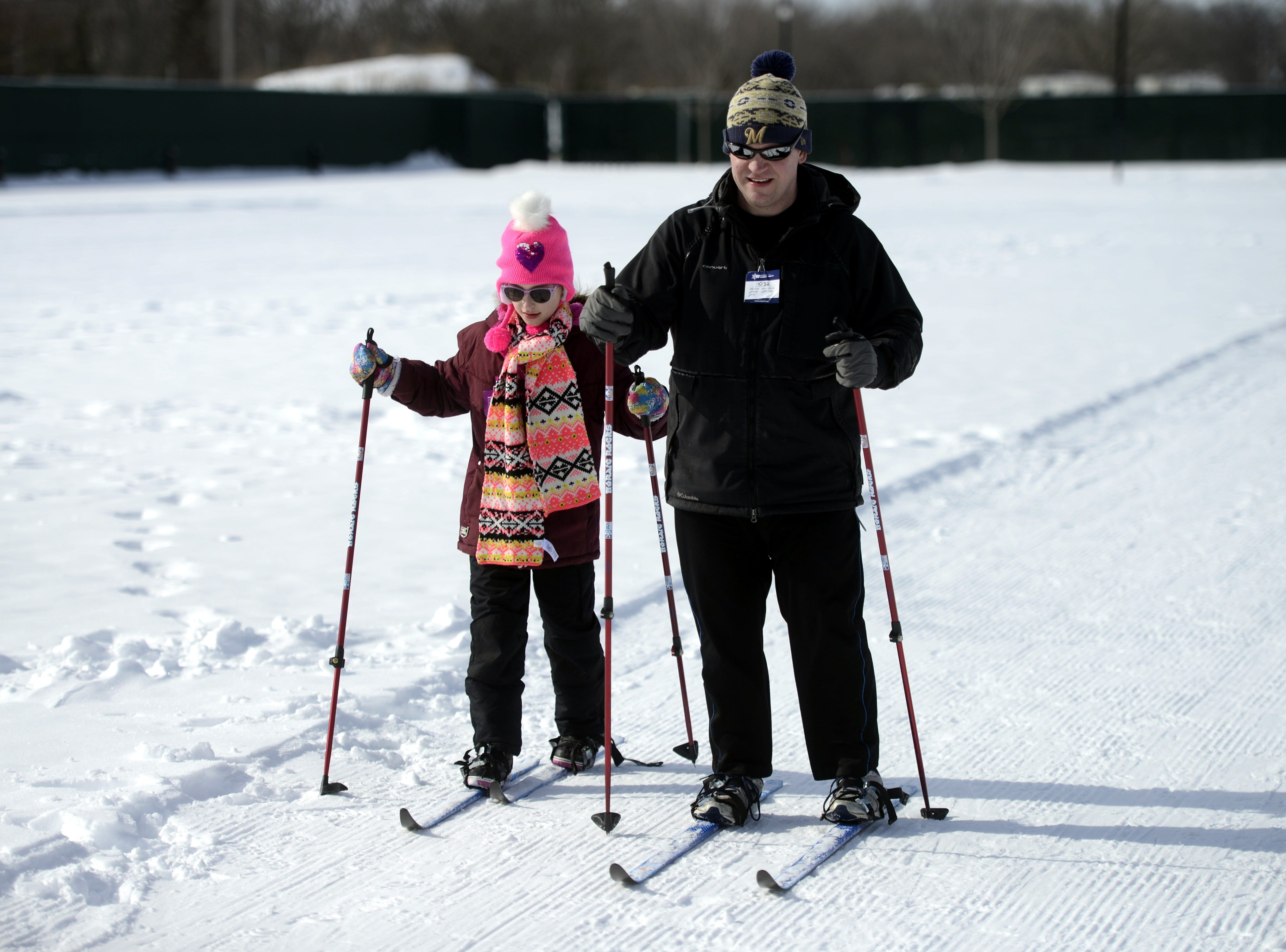 Rich Palzewic and daughter Francesca, 9, of Howard cross country ski at the Titletown Winter Games on Saturday, Feb. 16, 2019.