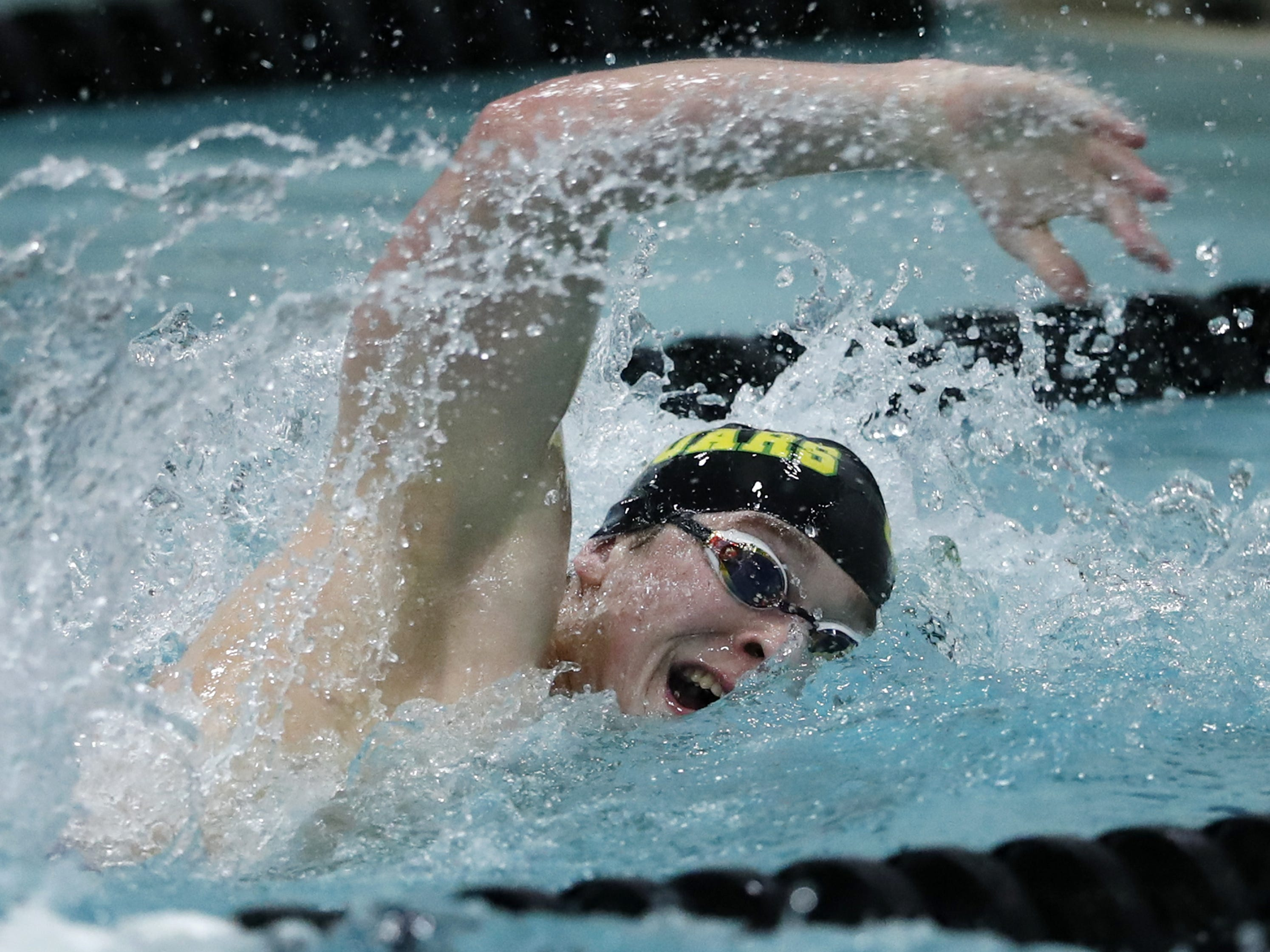 Ashwaubenon's 400-yard freestyle relay team competes during the Division 2 2019 State Boys Swimming and Diving Championships Friday, Feb. 15, 2019, at the UW Natatorium in Madison, Wis.