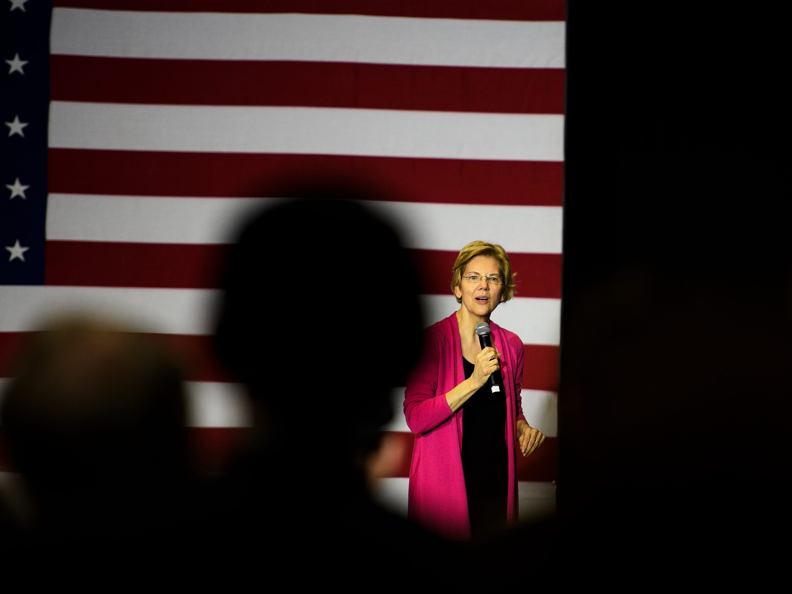 U.S. Sen. Elizabeth Warren speaks during a campaign event at the West End Community Development Center in Greenville Saturday, Feb. 16, 2019.