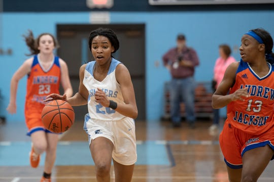 Christ Church Episcopal School's Marissa Powe (20) controls the ball during the home game against Andrew Jackson High School Friday, Feb. 15, 2019.