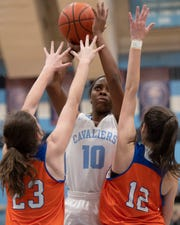 Christ Church's Erica Harris (10) scored 17 points to help send the Cavaliers past Buford and advance to the Upper State Class AA girls championship game.