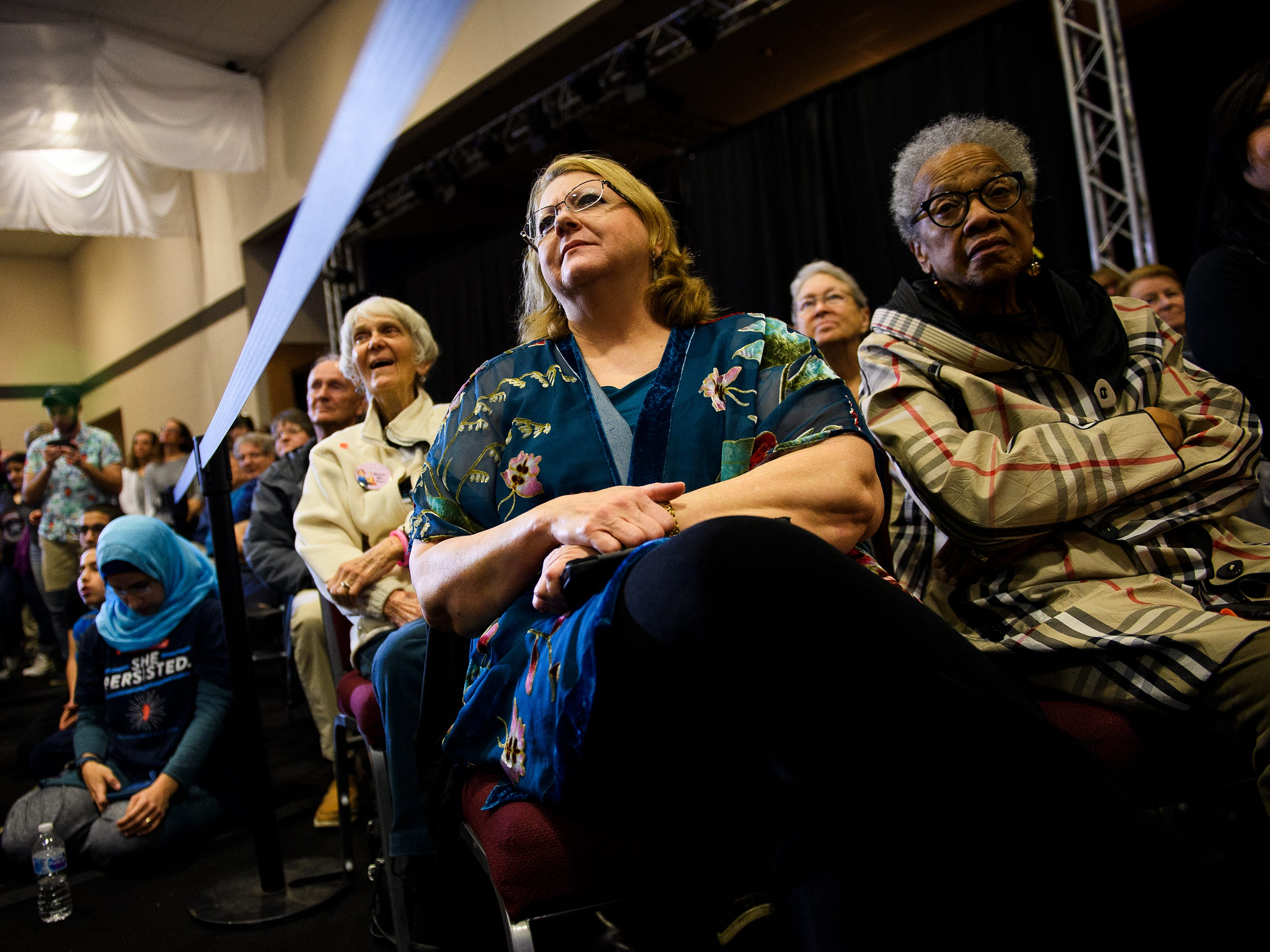 More than two hundred people listen to U.S. Sen. Elizabeth Warren speak during a campaign event at the West End Community Development Center in Greenville Saturday, Feb. 16, 2019.