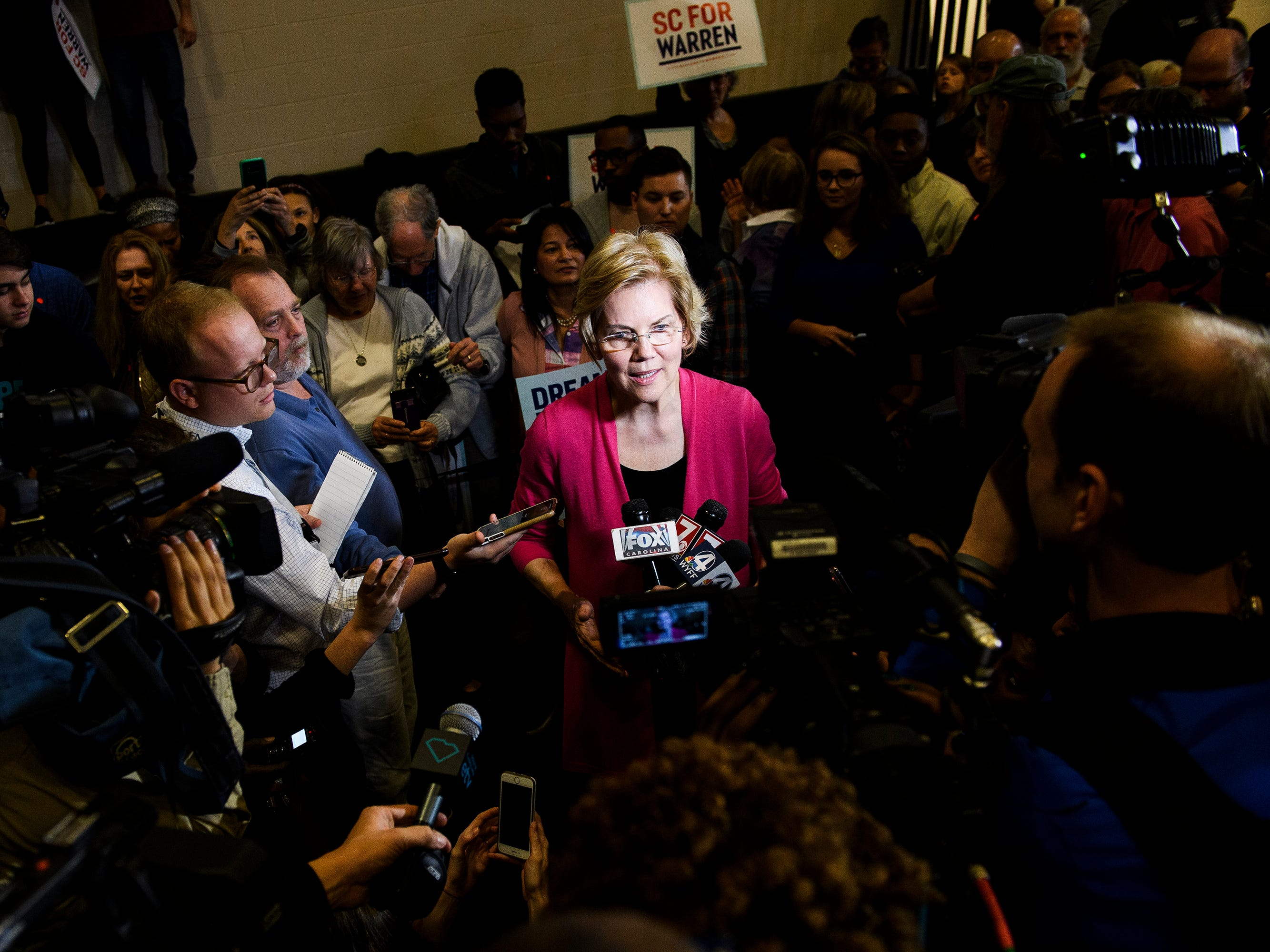 U.S. Sen. Elizabeth Warren speaks to members of the press during a campaign event at the West End Community Development Center in Greenville Saturday, Feb. 16, 2019.