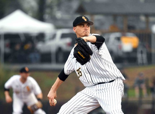 Southern Miss pitcher Walker Powell throws the ball in the season opener against Purdue on Friday, February 15, 2019.
