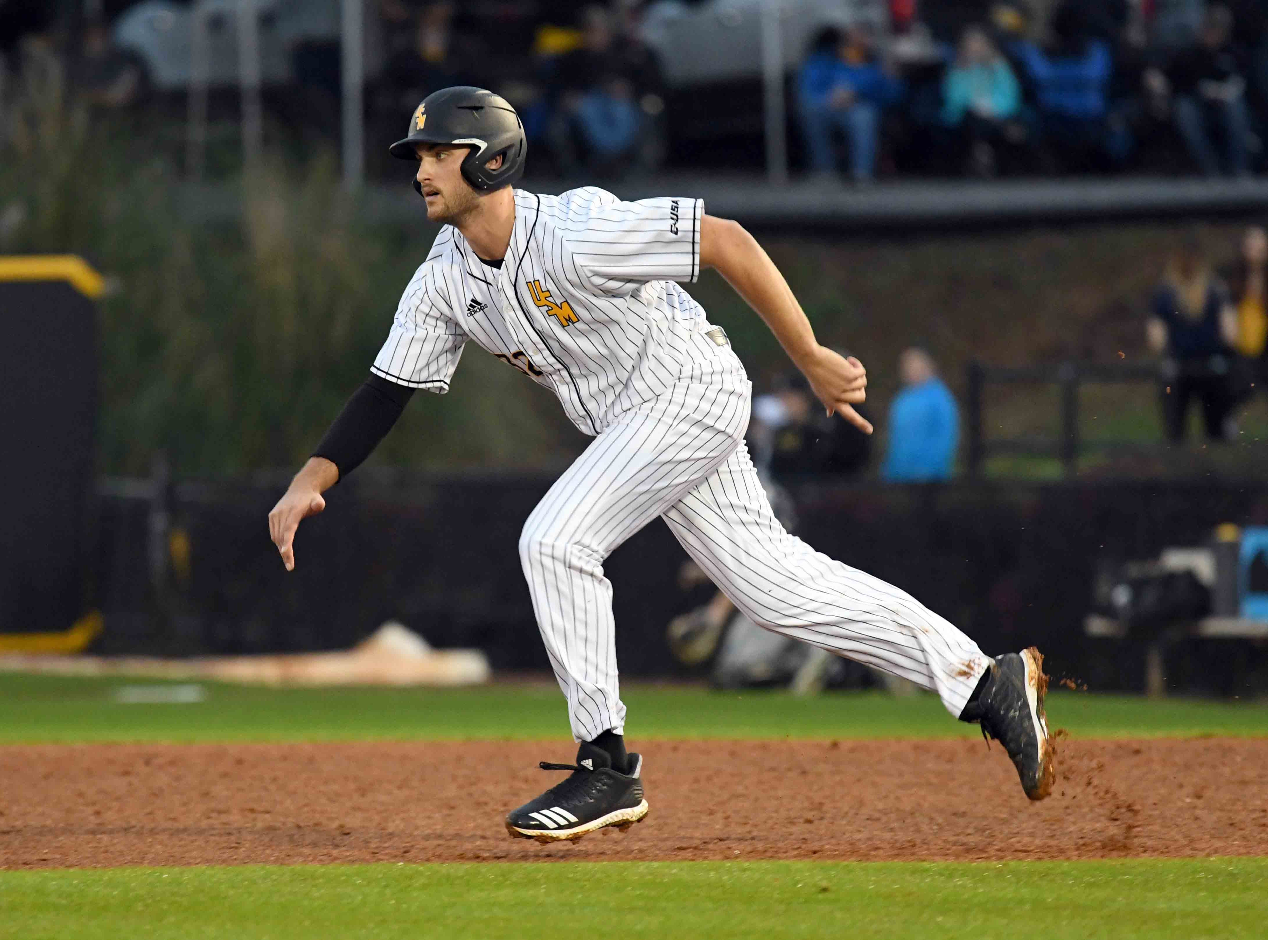 Southern Miss' Matt Wallner runs to second base in the season opener against Purdue on Friday, February 15, 2019.