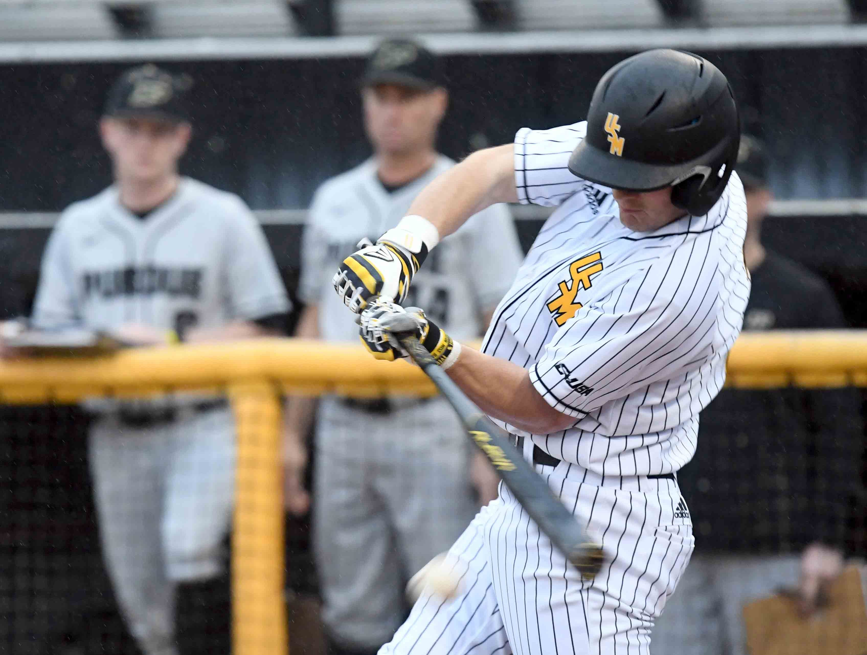 Southern Miss' Hunter LeBlanc swings for the ball in the season opener against Purdue on Friday, February 15, 2019.