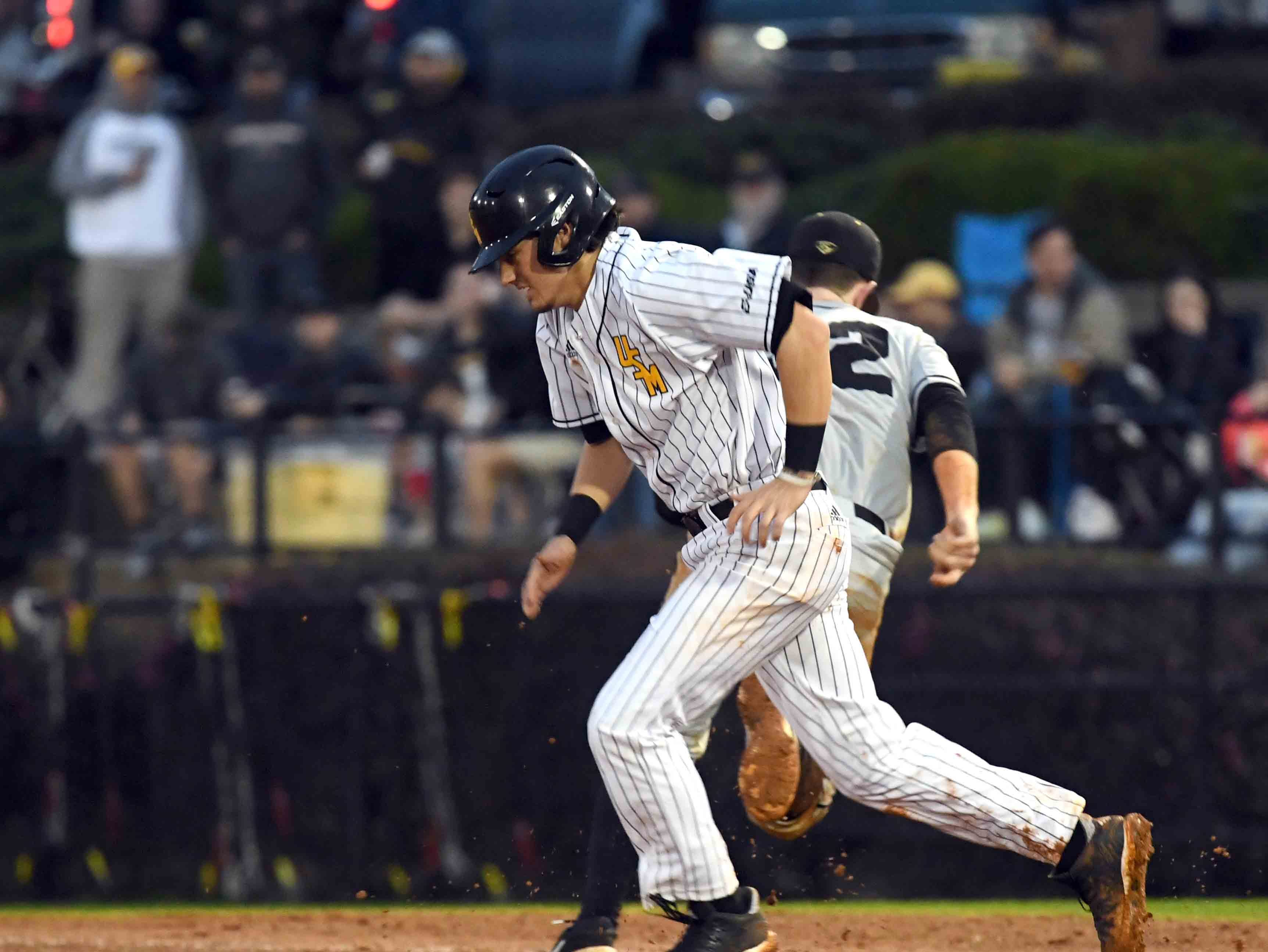 Southern Miss' Storme Cooper runs to second base in the season opener against Purdue on Friday, February 15, 2019.