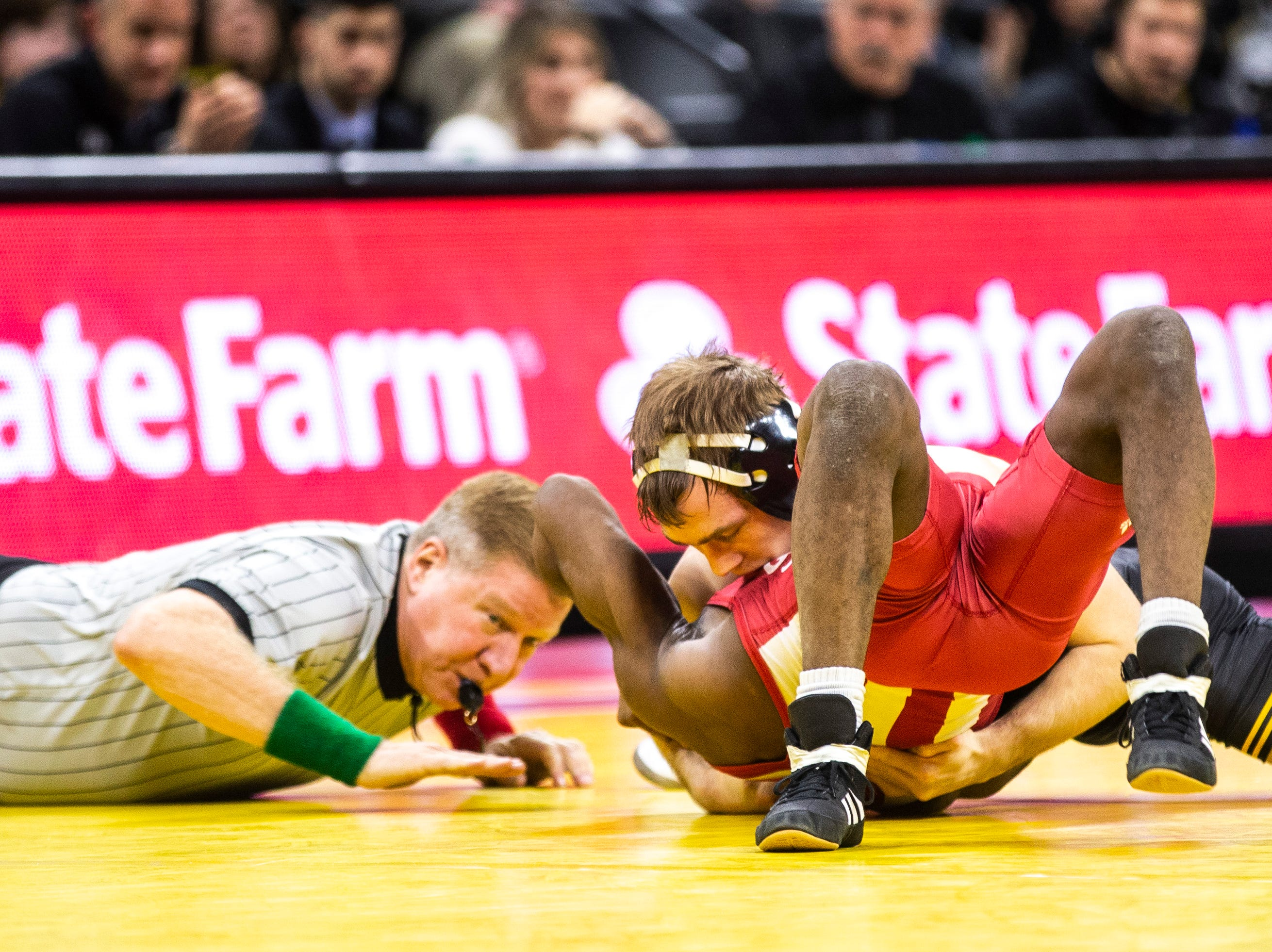 Iowa's Spencer Lee pins Indiana's Elijah Oliver at 125 during a NCAA Big Ten Conference wrestling dual on Friday, Feb. 15, 2019 at Carver-Hawkeye Arena in Iowa City, Iowa.