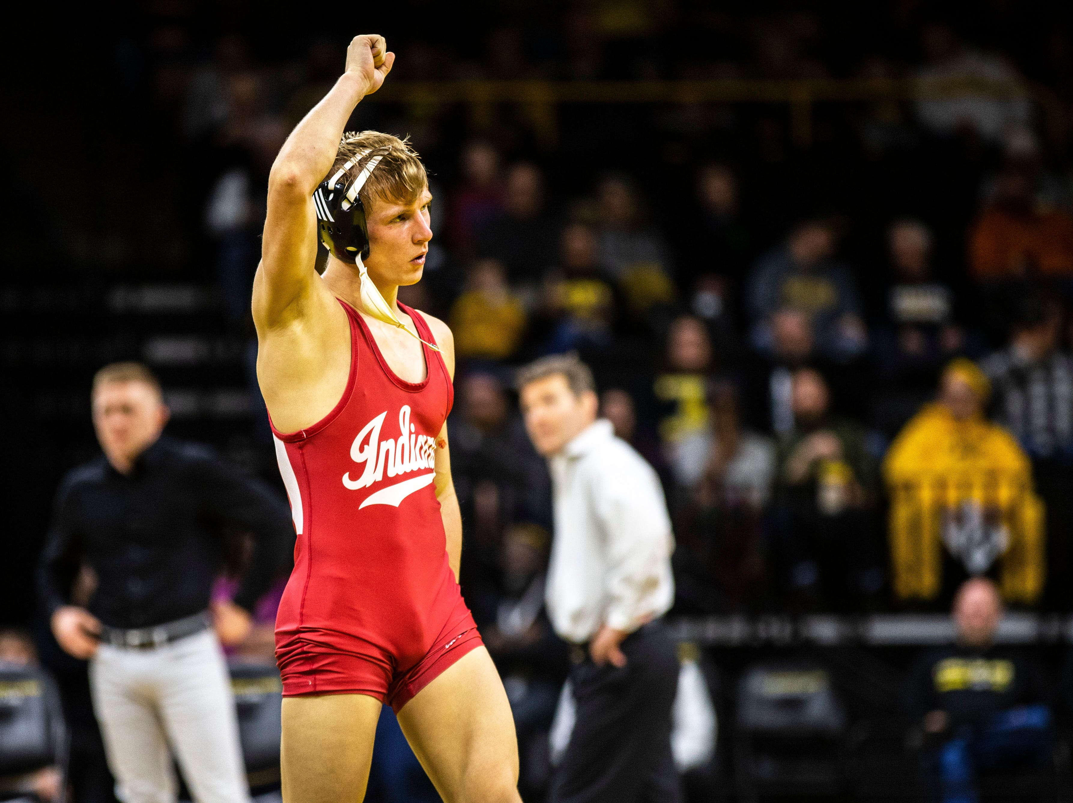 Indiana's Kyle Luigs reacts after pinning Iowa's Max Murin at 141 during a NCAA Big Ten Conference wrestling dual on Friday, Feb. 15, 2019 at Carver-Hawkeye Arena in Iowa City, Iowa.