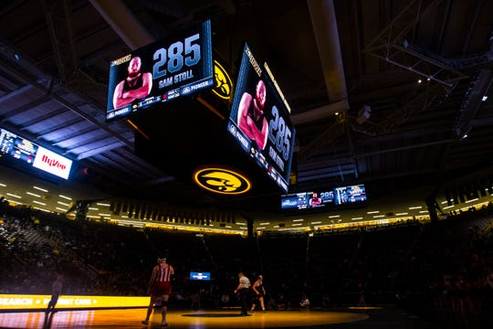 Iowa's Sam Stoll is introduced before his match at 285 during a NCAA Big Ten Conference wrestling dual on Friday, Feb. 15, 2019 at Carver-Hawkeye Arena in Iowa City, Iowa.