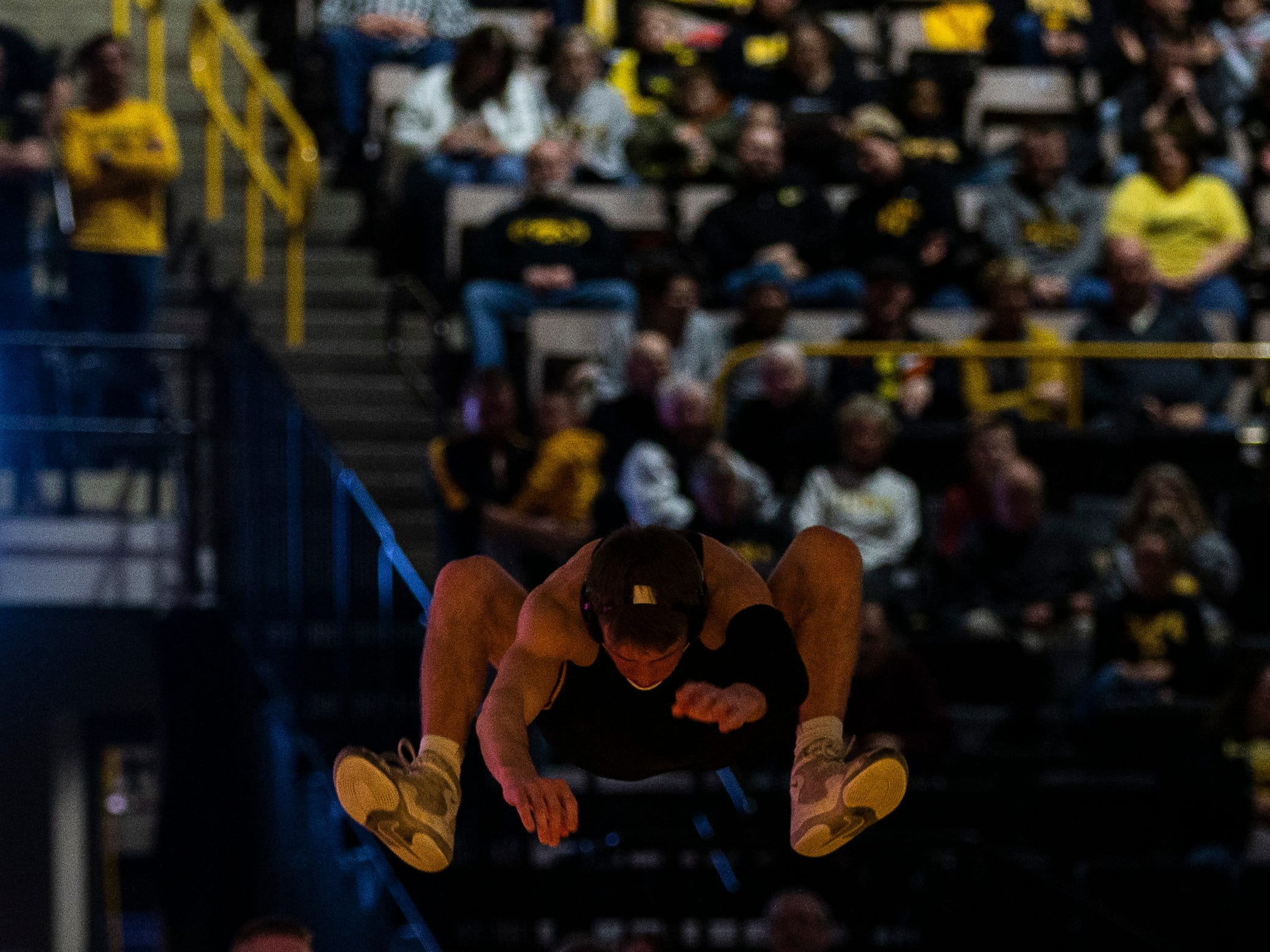 Iowa's Max Murin jumps onto the mat before his match at 141 against Indiana during a NCAA Big Ten Conference wrestling dual on Friday, Feb. 15, 2019 at Carver-Hawkeye Arena in Iowa City, Iowa.