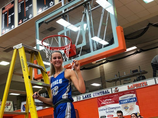 HSE's Sydney Parrish after the team's semistate win over Crown Point.