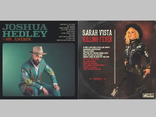Clothes made by Indianapolis tailor Jerry Lee Atwood are seen on the covers of 2018 albums by country musicians Joshua Hedley, left, and Sarah Vista.