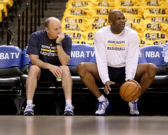 Pacers coach Nate McMillan, right, and assistant coach Dan Burke.