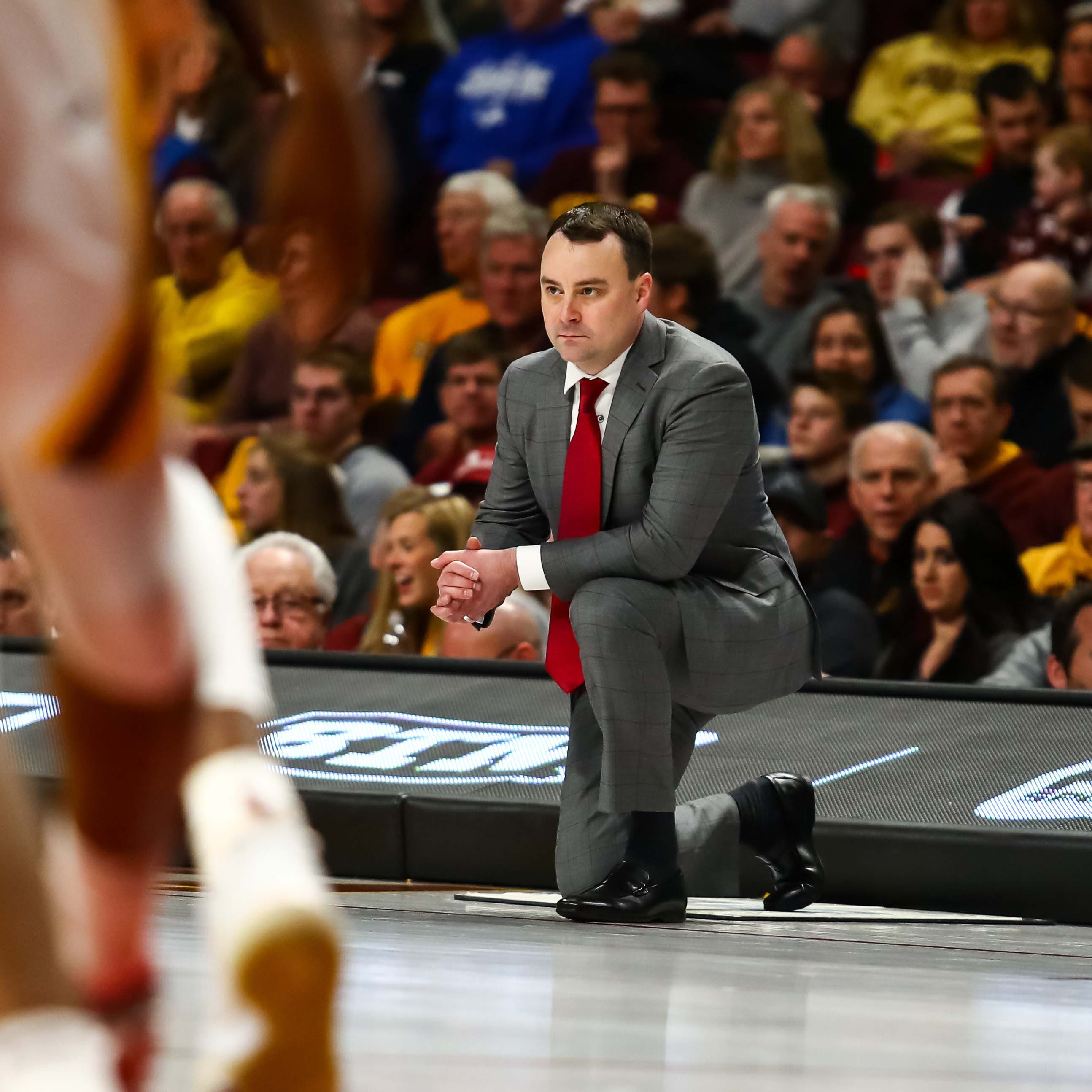 Indiana Hoosiers coach Archie Miller looks on in...