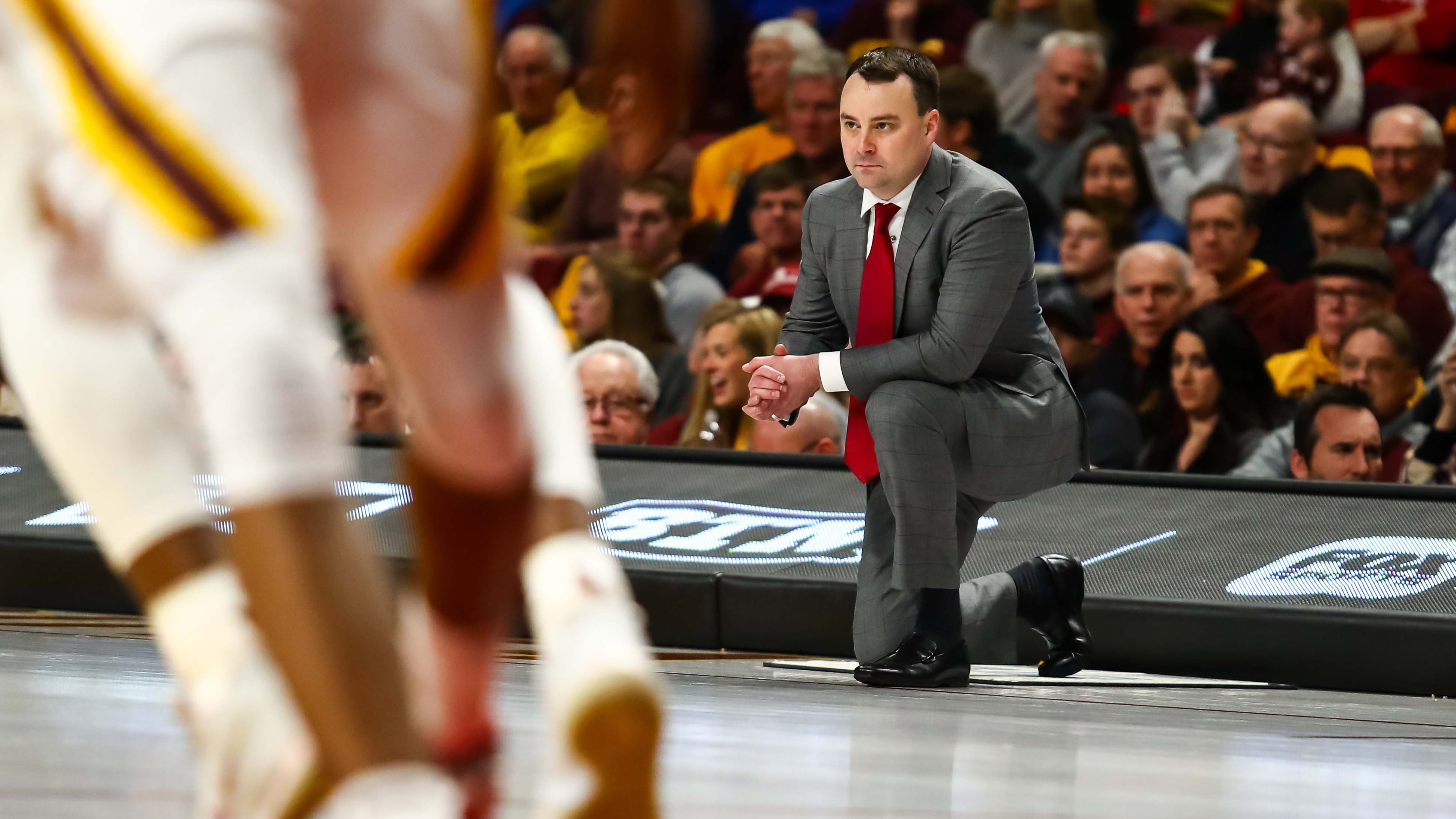 Indiana Hoosiers coach Archie Miller looks on in the second half against the Minnesota Golden Gophers at Williams Arena. The Minnesota Golden Gophers defeated the Indiana Hoosiers 84-63.
