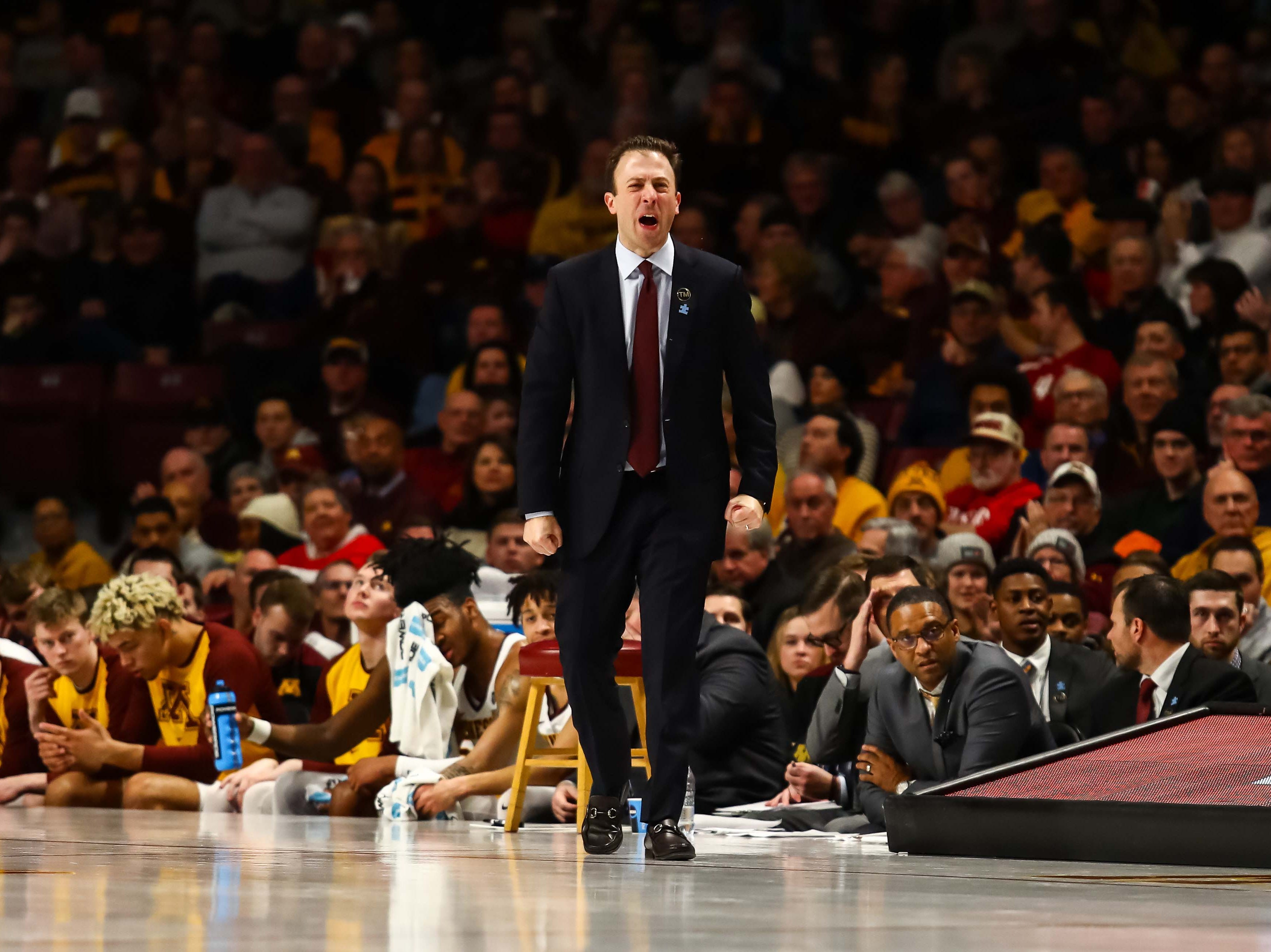 Feb 16, 2019; Minneapolis, MN, USA; Minnesota Golden Gophers head coach Richard Pitino yells in the second half against the Indiana Hoosiers at Williams Arena. The Minnesota Golden Gophers defeatd the Indiana Hoosiers 84-63. Mandatory Credit: David Berding-USA TODAY Sports
