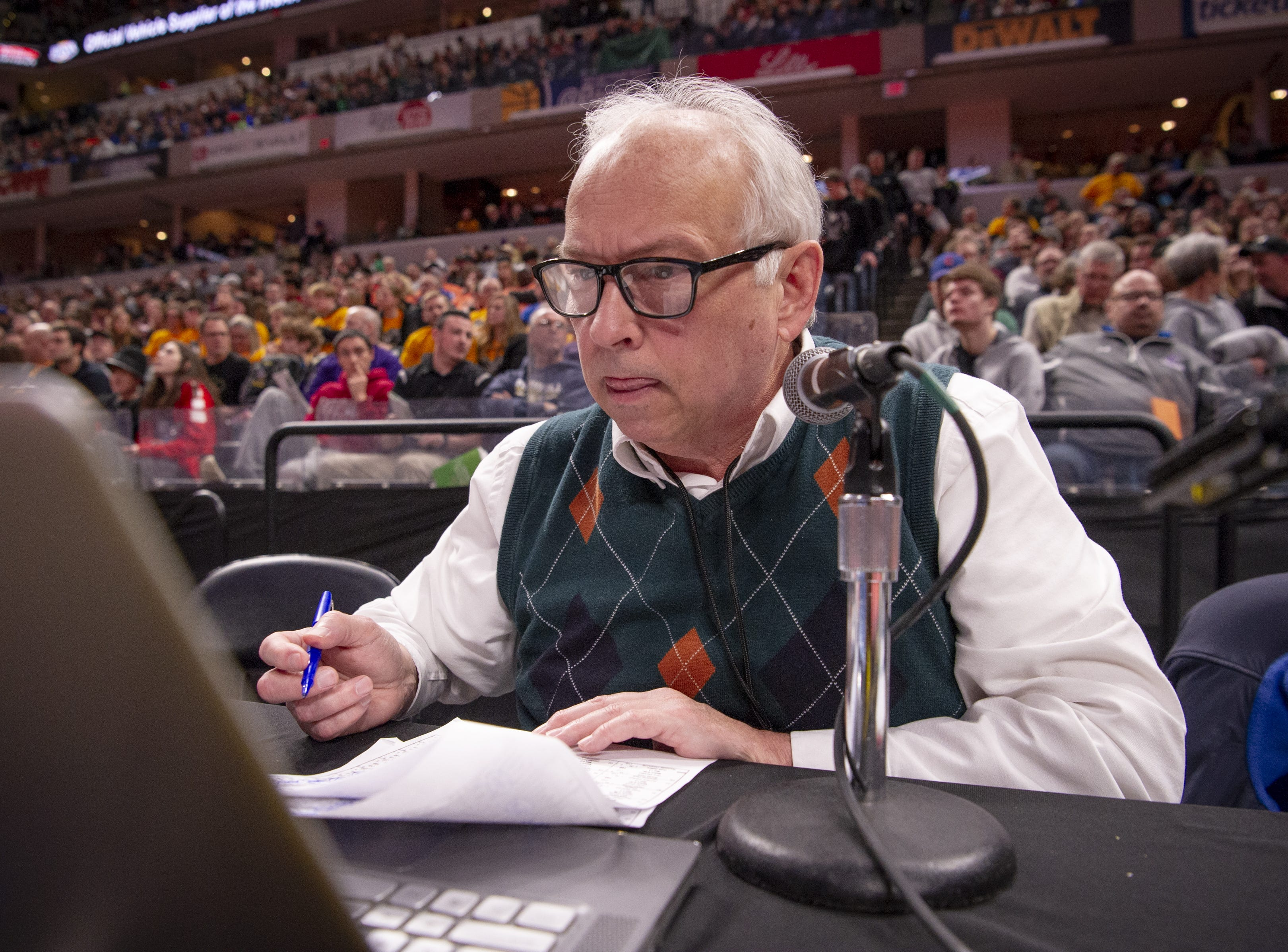 Kevin Whitehead has been the PA announcer for the during annual IHSAA Wrestling State Finals for the past 38 years. Tonight he continued the tradition at Bankers Life Fieldhouse in Indianapolis, Friday, Feb. 15, 2019.