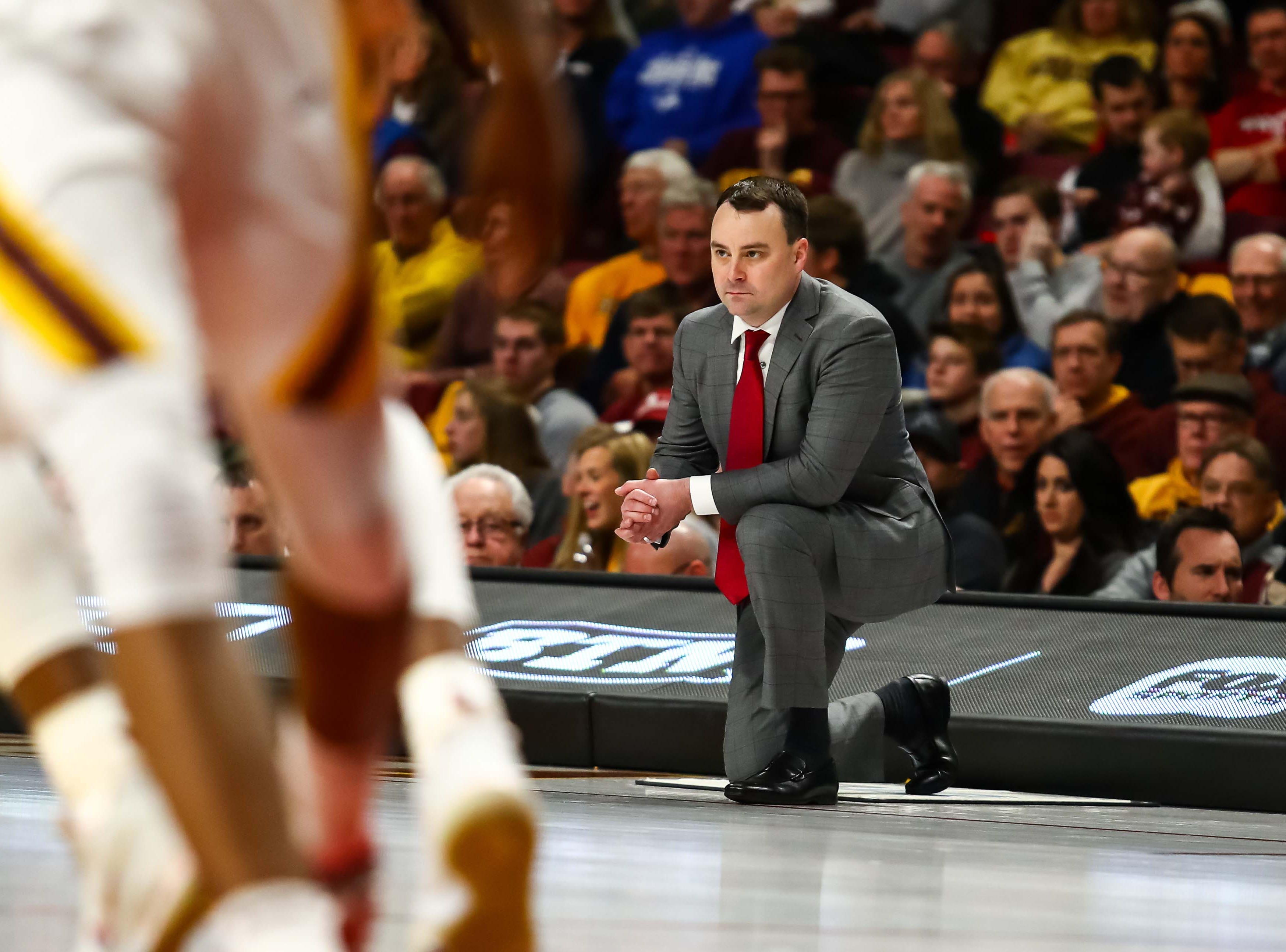 Feb 16, 2019; Minneapolis, MN, USA; Indiana Hoosiers head coach Archie Miller looks on in the second half against the Minnesota Golden Gophers at Williams Arena. The Minnesota Golden Gophers defeatd the Indiana Hoosiers 84-63. Mandatory Credit: David Berding-USA TODAY Sports