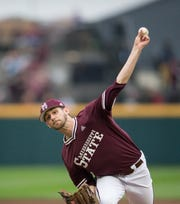 Mississippi State's Ethan Small (44) releases a pitch in the first inning. Mississippi State opened the 2019 baseball season against Youngstown State on Friday, February 15, 2019. Photo by Keith Warren