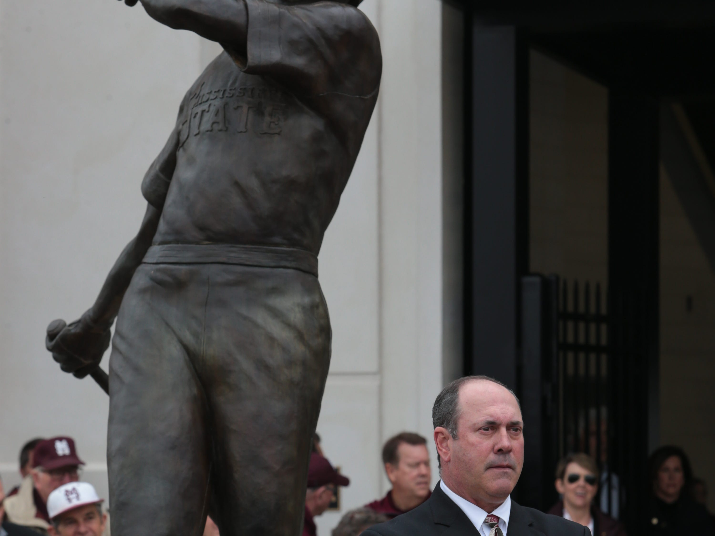 Will Clark stands in front a statue commemorating his time at MSU. Mississippi State opened the 2019 baseball season against Youngstown State on Friday, February 15, 2019. Photo by Keith Warren