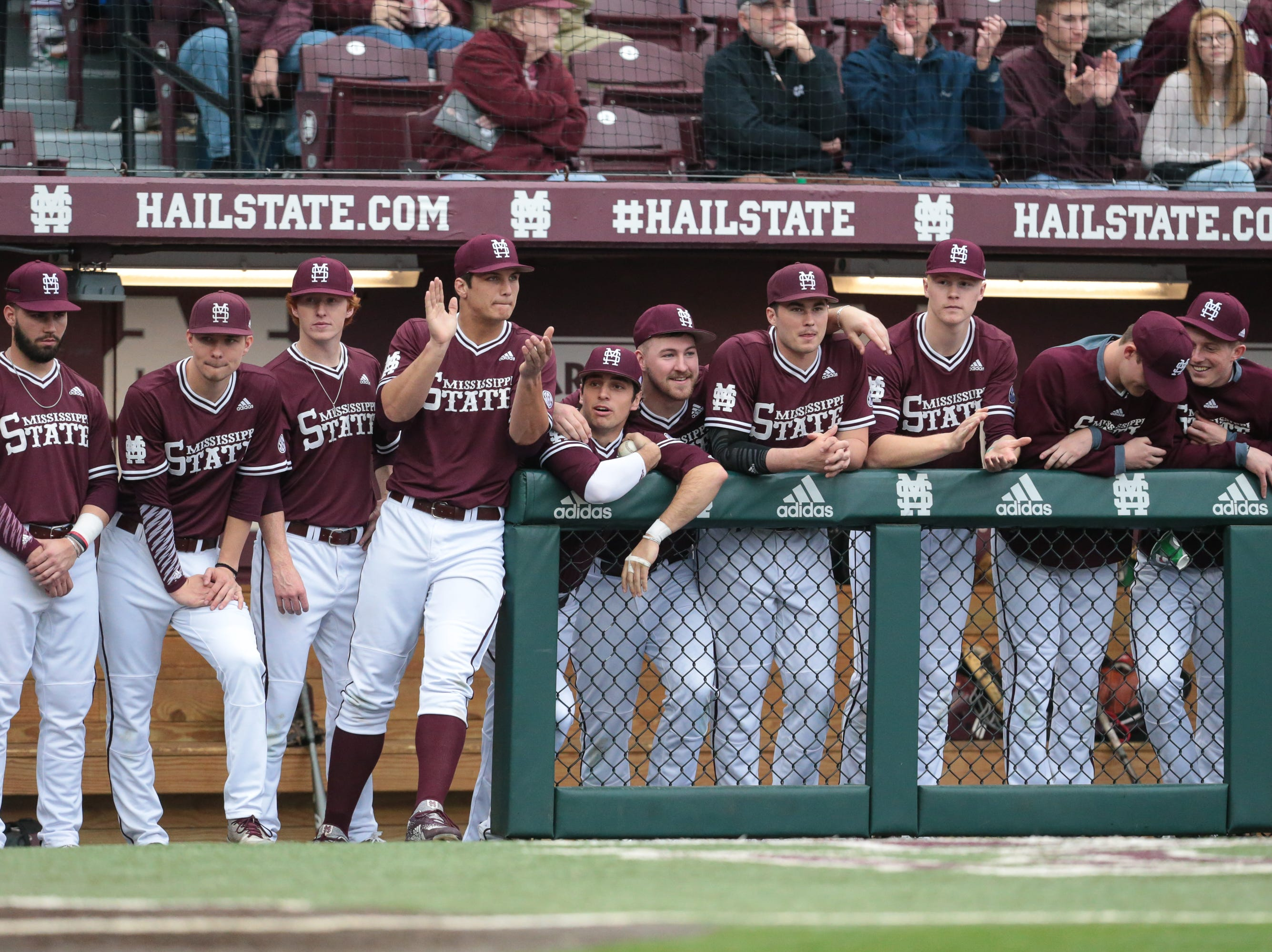 MSU players cheer for their teammates in the first inning. Mississippi State opened the 2019 baseball season against Youngstown State on Friday, February 15, 2019. Photo by Keith Warren