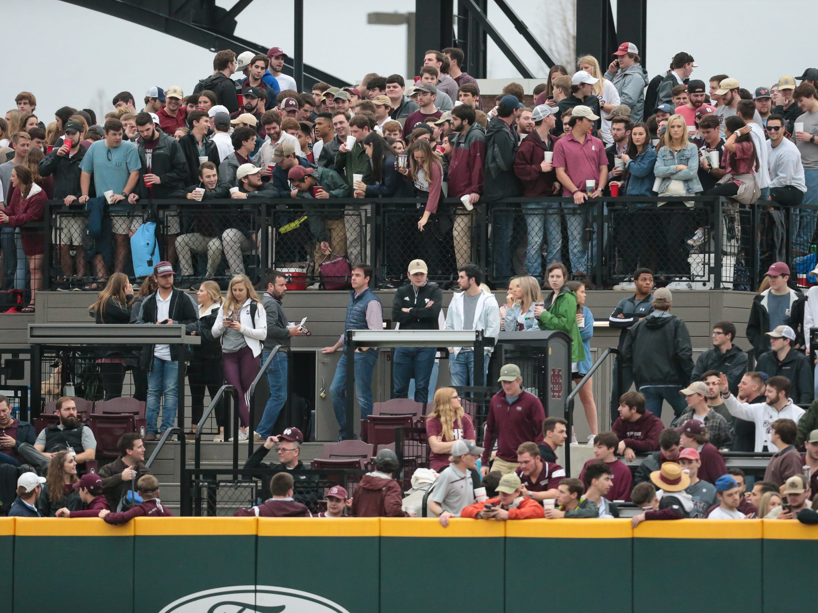 MSU fans watch from the outfield. Mississippi State opened the 2019 baseball season against Youngstown State on Friday, February 15, 2019. Photo by Keith Warren