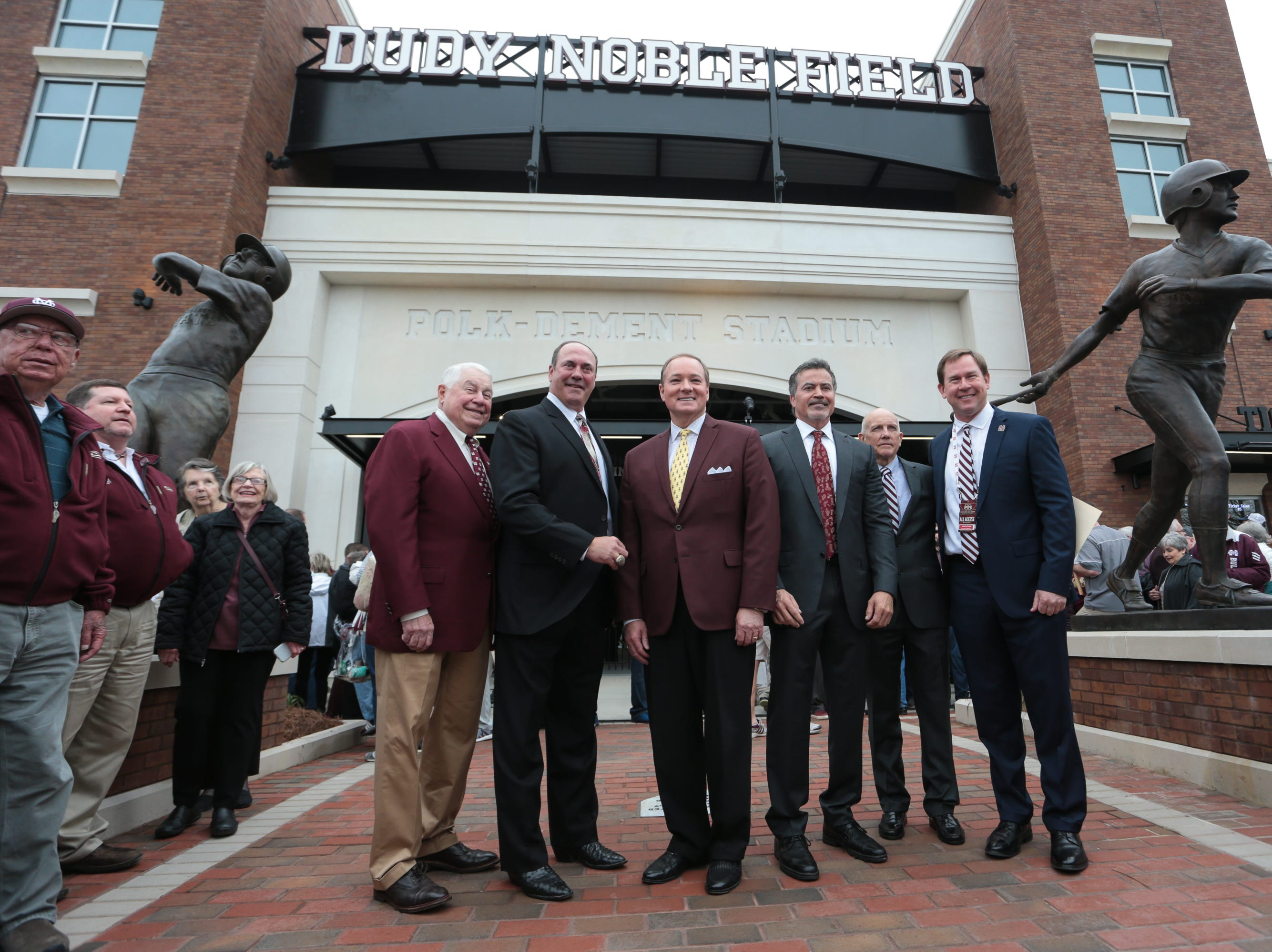 Hal Parker, Will Clark, Mississippi State University President Dr. Mark Keenum, Rafael Palmeiro, Jim Ellis, and John Cohen. Mississippi State opened the 2019 baseball season against Youngstown State on Friday, February 15, 2019. Photo by Keith Warren