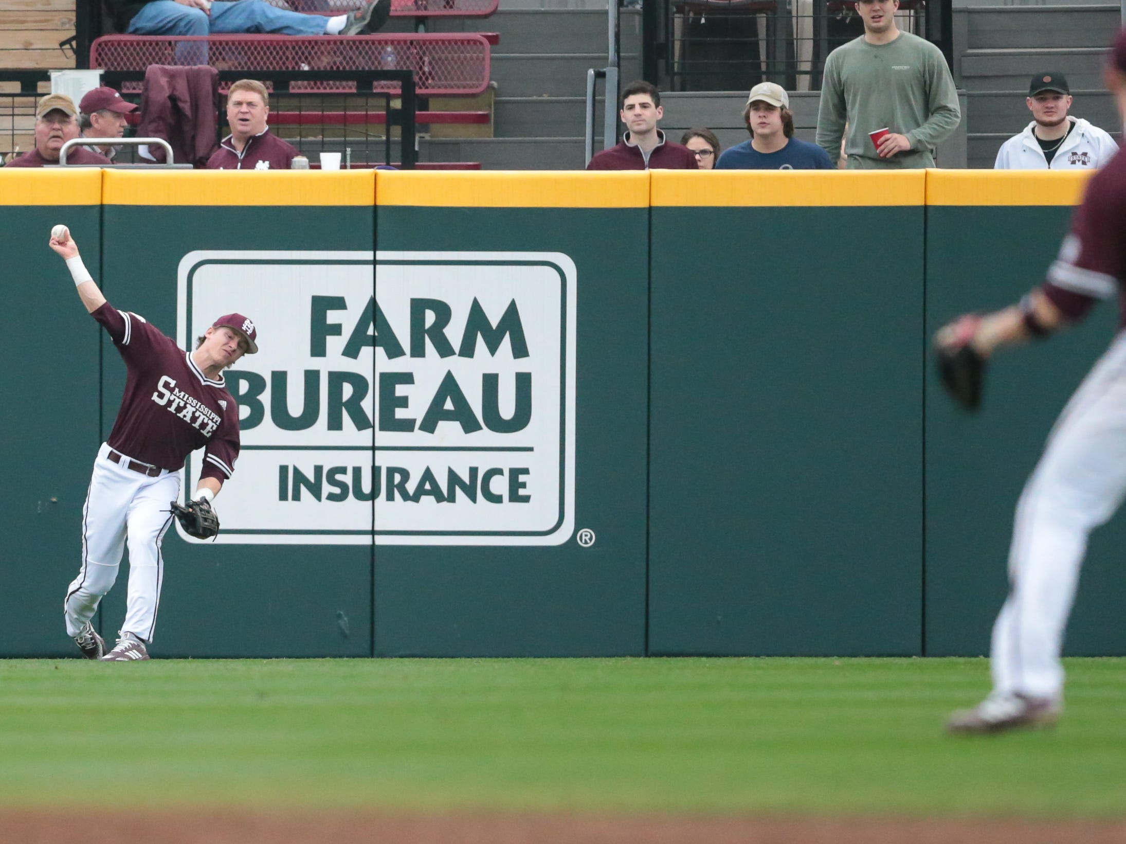 Mississippi State's Rowdey Jordan (4) makes a throw to Mississippi State's Jordan Westburg (11). Mississippi State opened the 2019 baseball season against Youngstown State on Friday, February 15, 2019. Photo by Keith Warren