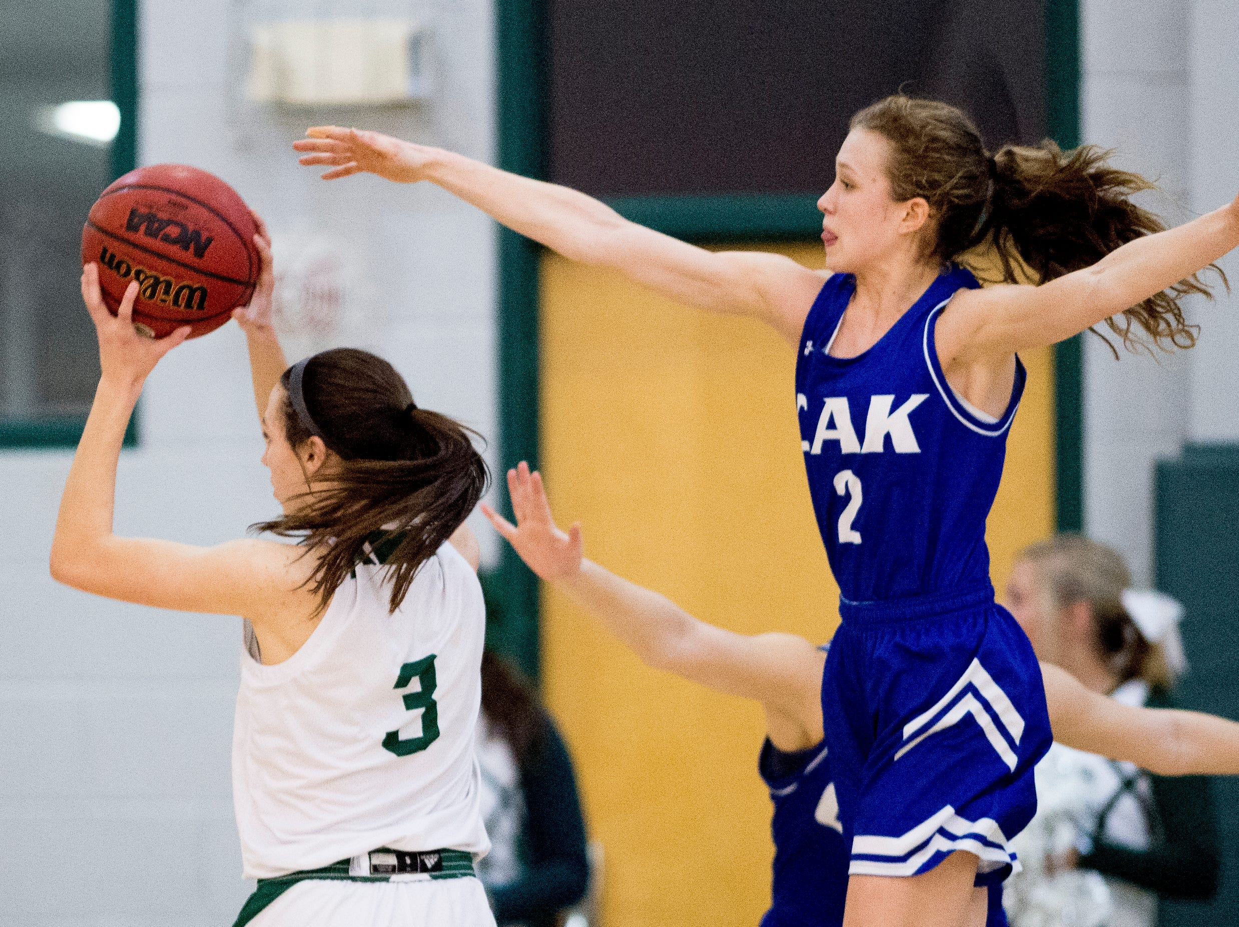 CAK's Claire Brock (2) defends against Audrey Carter (3) during a semifinal game between CAK and Silverdale at Webb School of Knoxville in Knoxville, Tennessee on Friday, February 15, 2019.