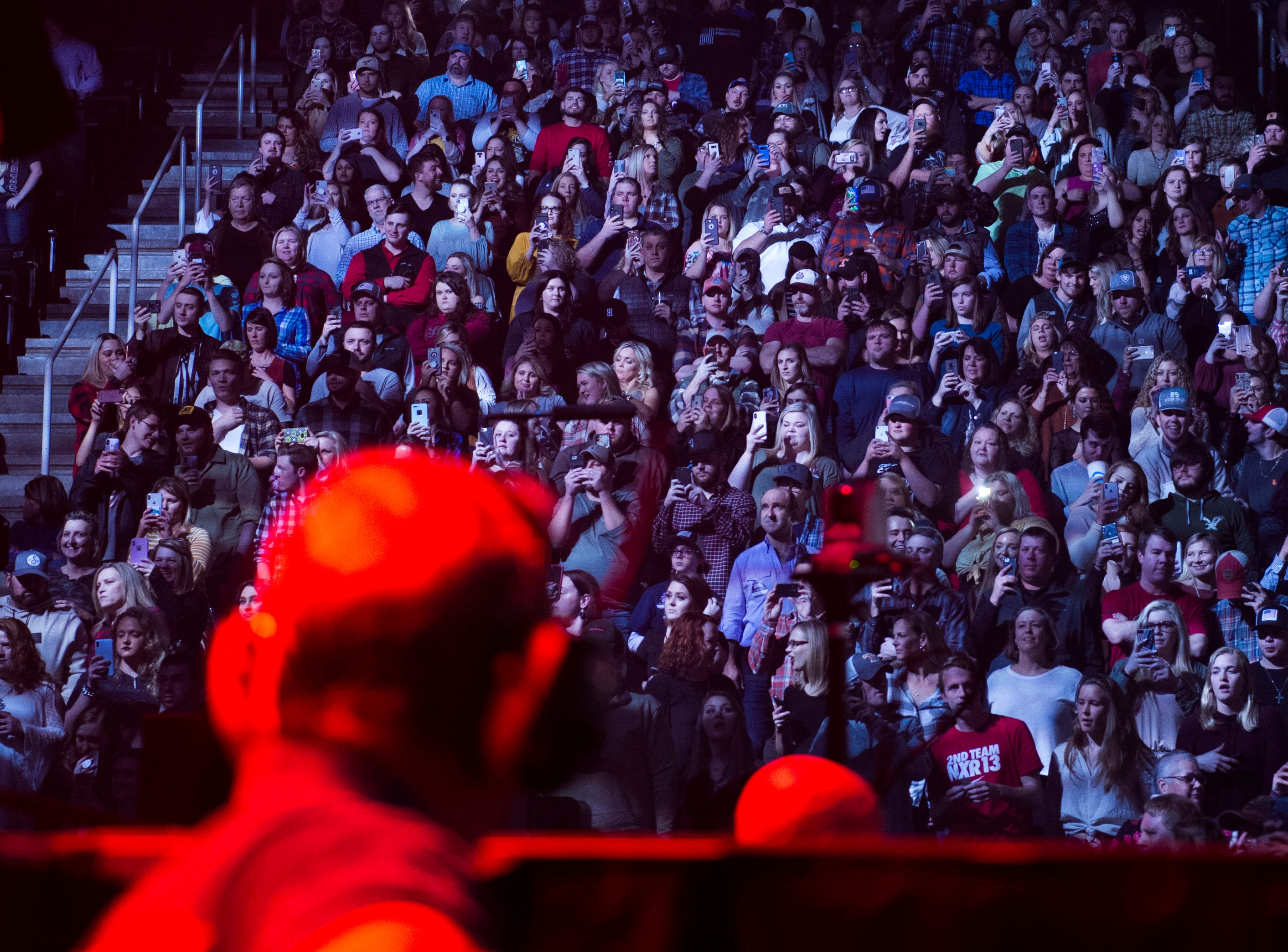 Fans listen to Luke Combs perform in Thompson-Boling Arena in Knoxville Friday, Feb. 15, 2019.