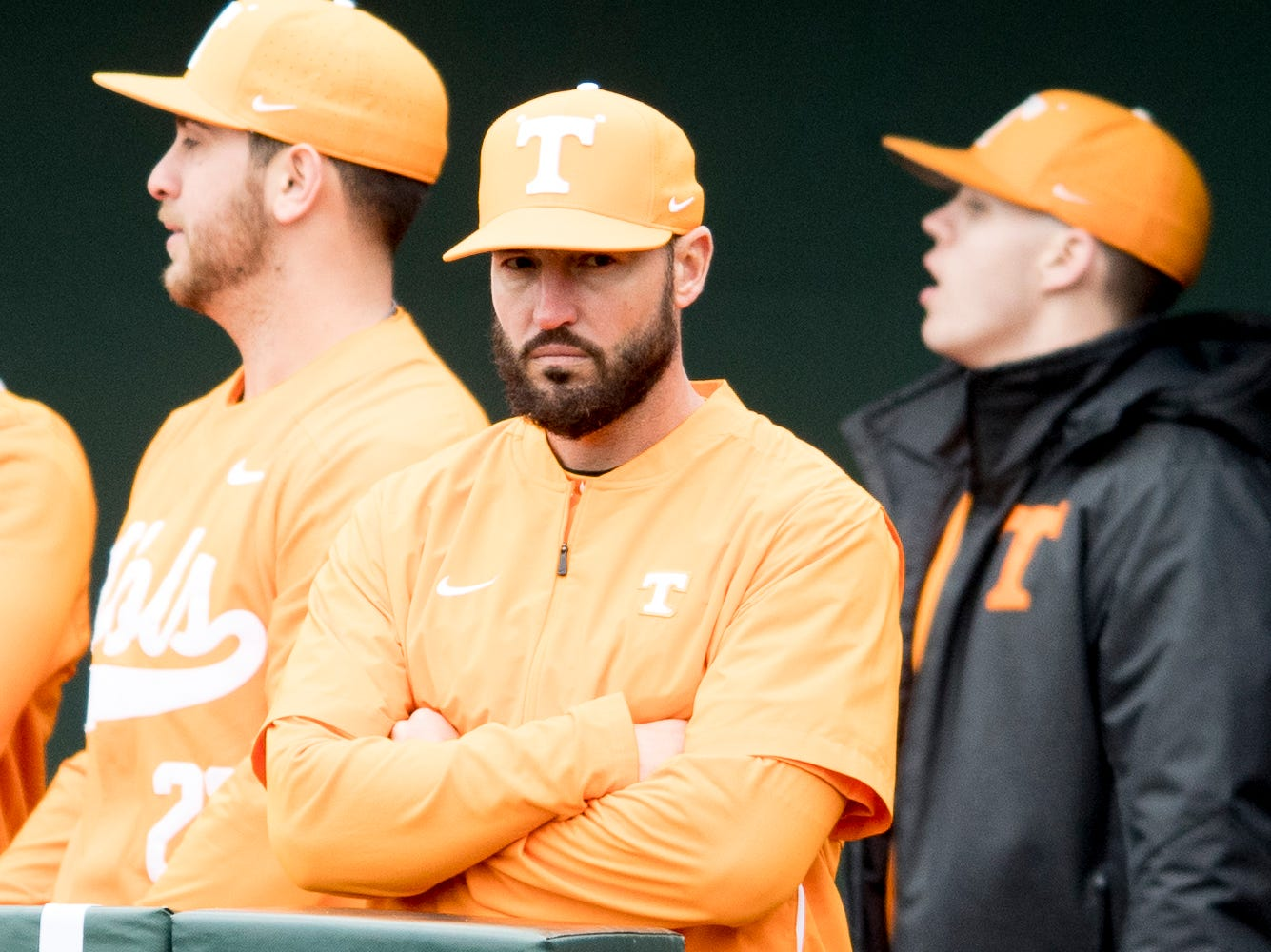 Tennessee Head Coach Tony Vitello eyes the game during a Tennessee baseball home opener game against Appalachian State at Lindsey Nelson Stadium in Knoxville, Tennessee on Saturday, February 16, 2019.