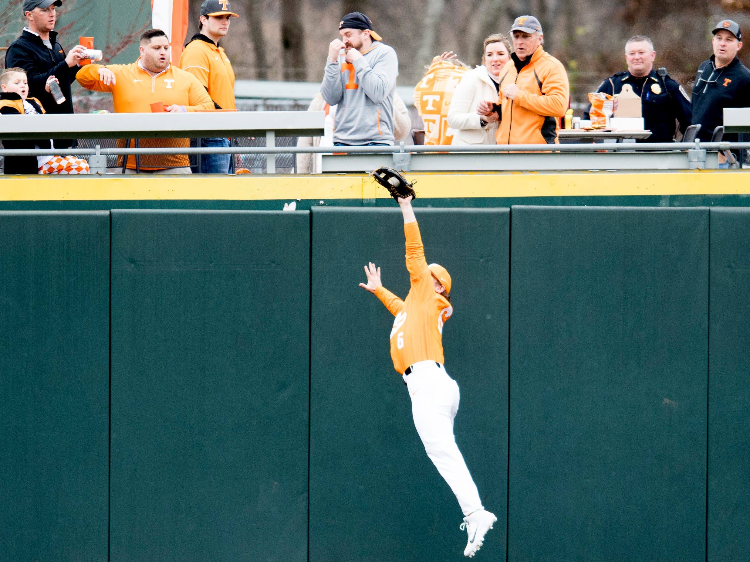 Tennessee outfielder Evan Russell (6) catches a hit into far left field during a Tennessee baseball home opener game against Appalachian State at Lindsey Nelson Stadium in Knoxville, Tennessee on Saturday, February 16, 2019.