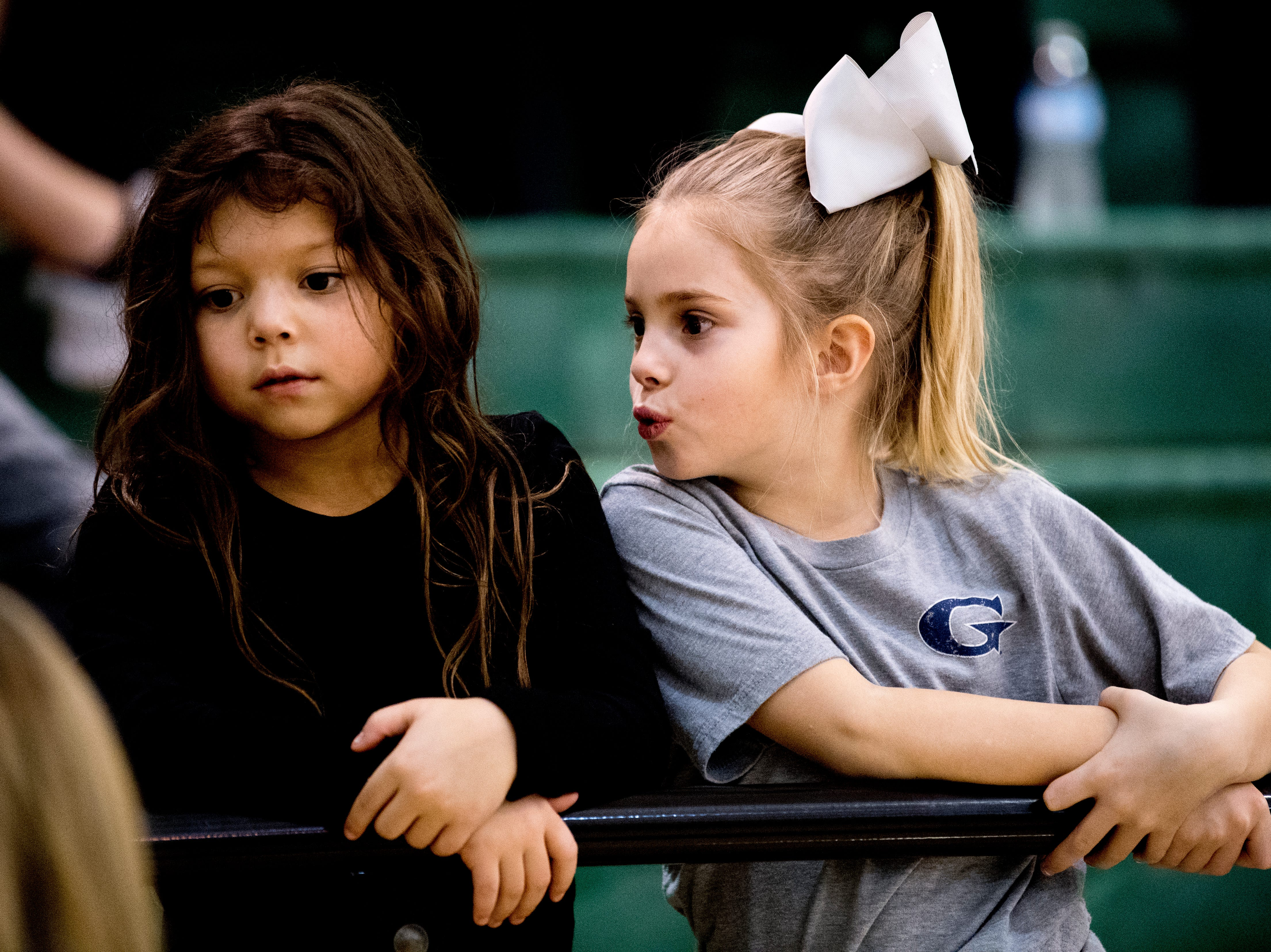 Kids in the stands watch from the sidelines during a semifinal game tournament at Webb School of Knoxville in Knoxville, Tennessee on Friday, February 15, 2019.