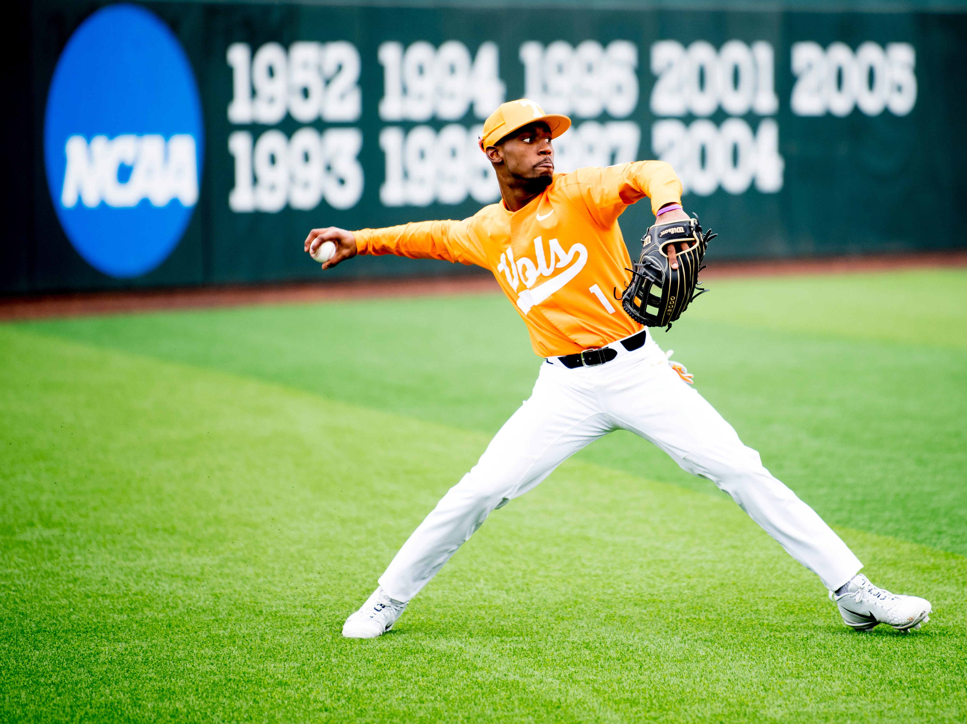 Tennessee outfielder/infielder Al Soularie (1) throws the ball into the infield during a Tennessee baseball home opener game against Appalachian State at Lindsey Nelson Stadium in Knoxville, Tennessee on Saturday, February 16, 2019.