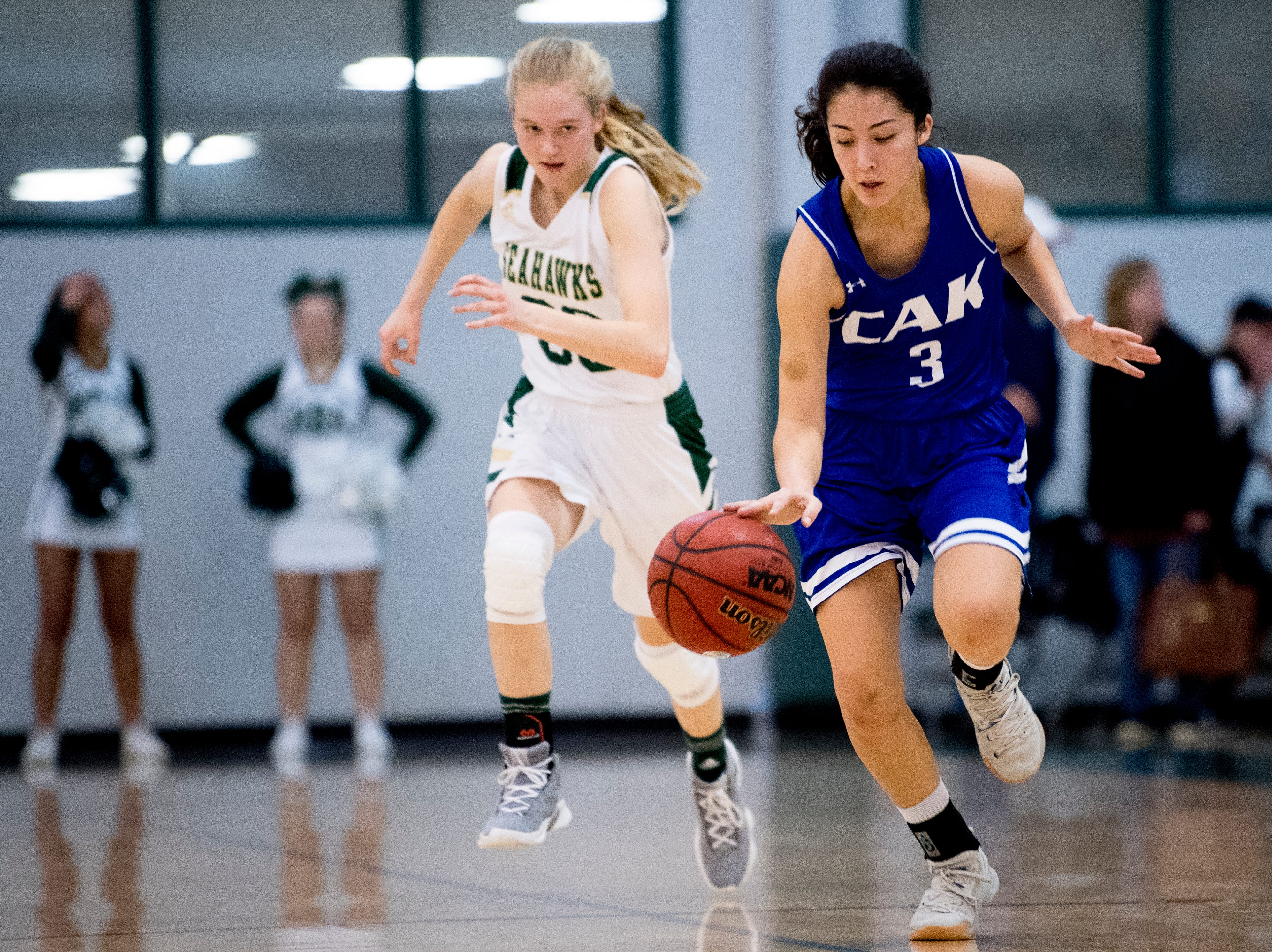 CAK's Ellie Fussell (3) dribbles down the court during a semifinal game between CAK and Silverdale at Webb School of Knoxville in Knoxville, Tennessee on Friday, February 15, 2019.