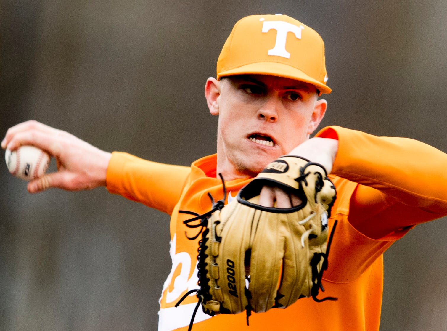 Tennessee pitcher Zach Linginfelter (25) pitches during a Tennessee baseball home opener game against Appalachian State at Lindsey Nelson Stadium in Knoxville, Tennessee on Saturday, February 16, 2019.