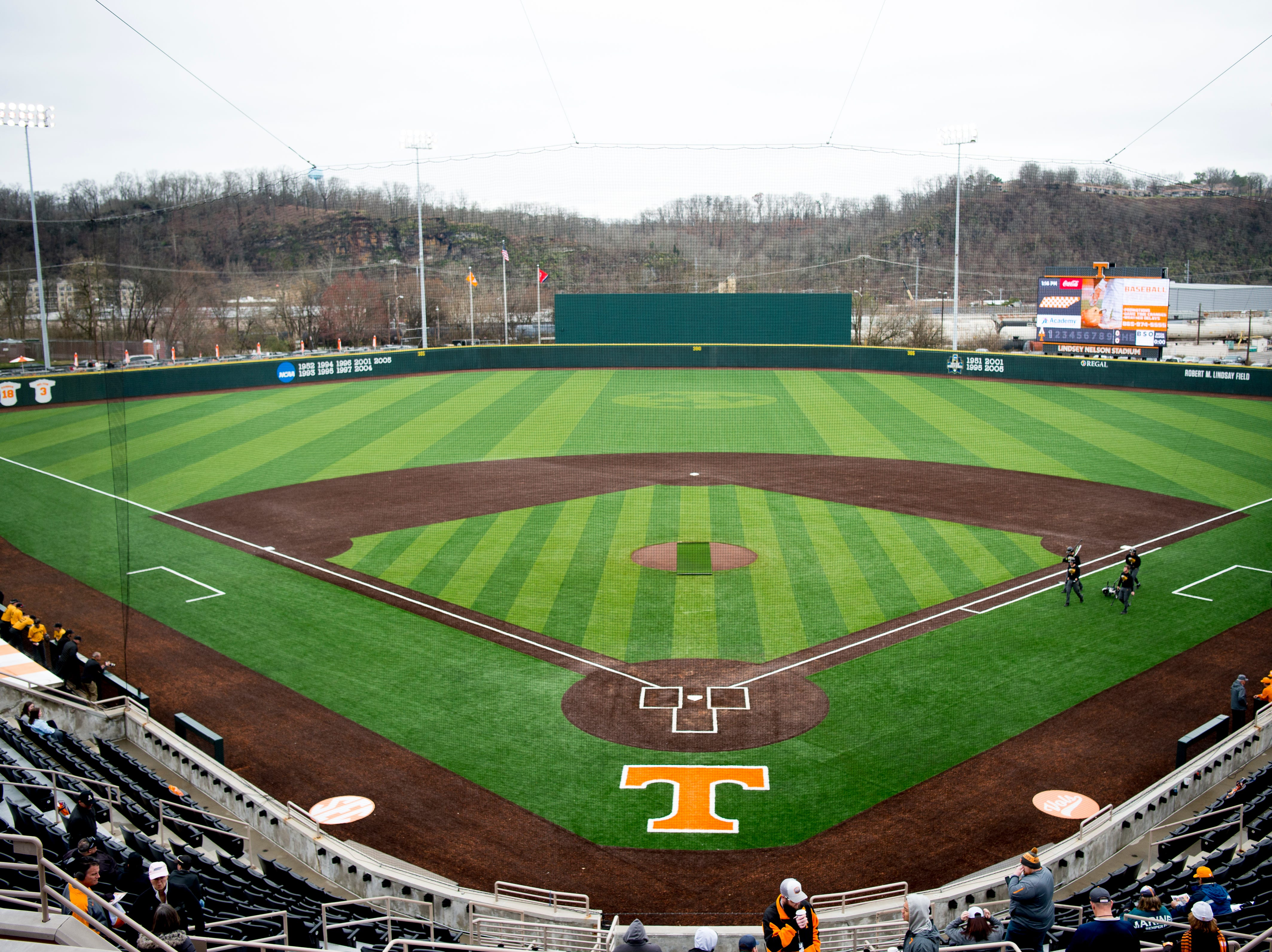 The all-new turf field at Lindsey Nelson Stadium in Knoxville, Tennessee on Saturday, February 16, 2019. The pitchers mound is the only part of the field that remains dirt.