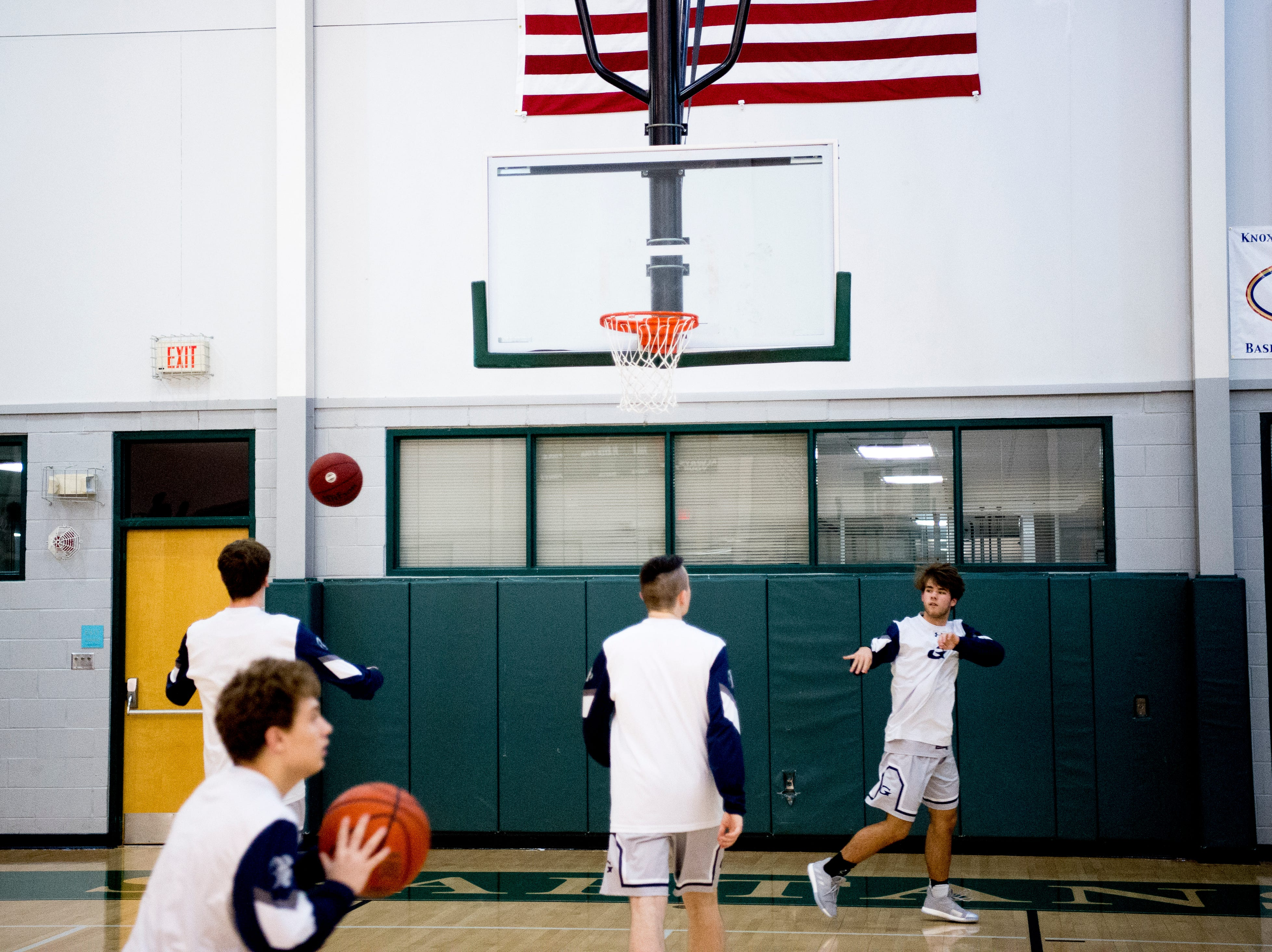 Grace Christian players warm up during a semifinal game between Grace Christian and Chattanooga Christian at Webb School of Knoxville in Knoxville, Tennessee on Friday, February 15, 2019.