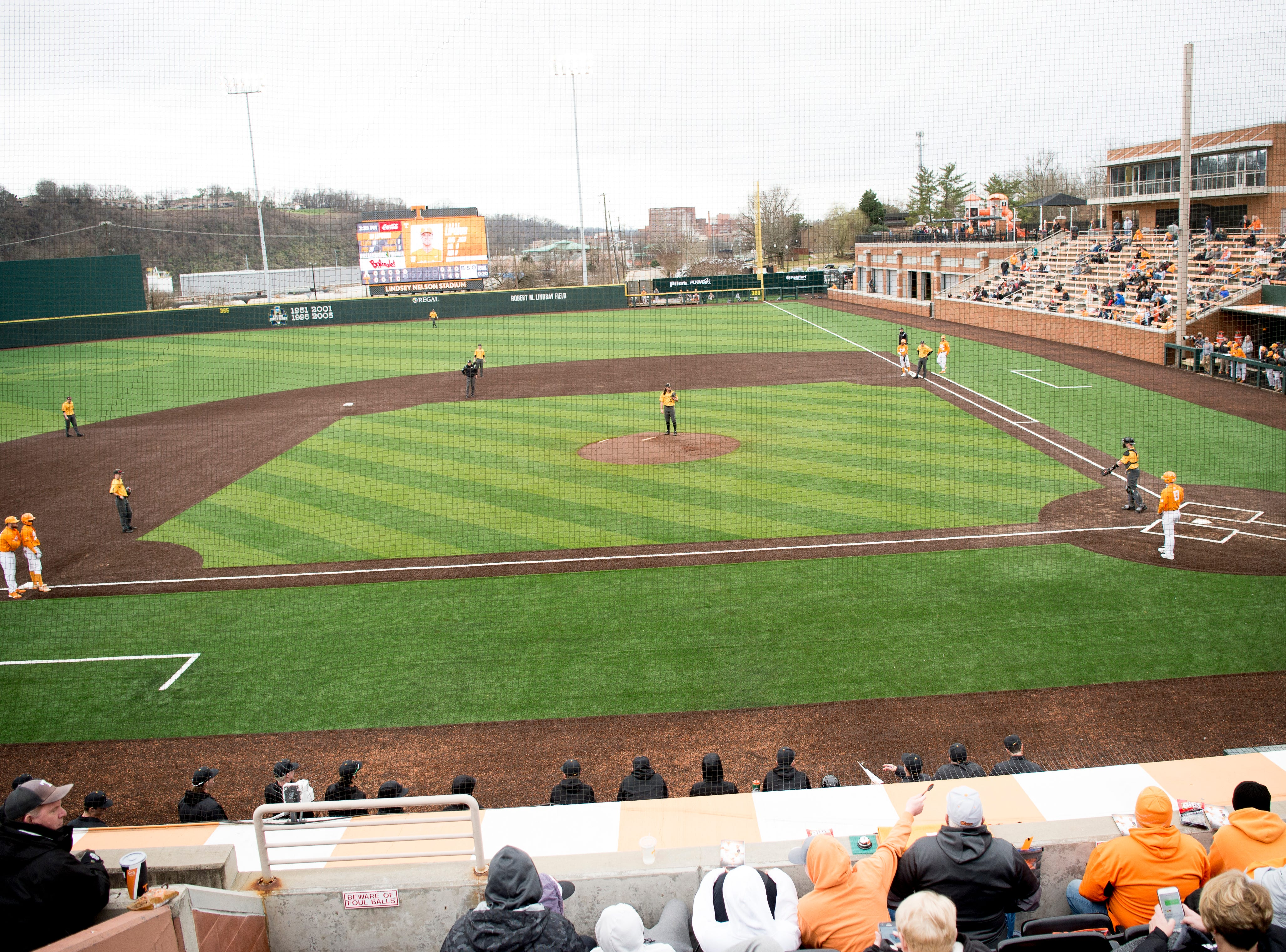 A view of the field during a Tennessee baseball home opener game against Appalachian State at Lindsey Nelson Stadium in Knoxville, Tennessee on Saturday, February 16, 2019.